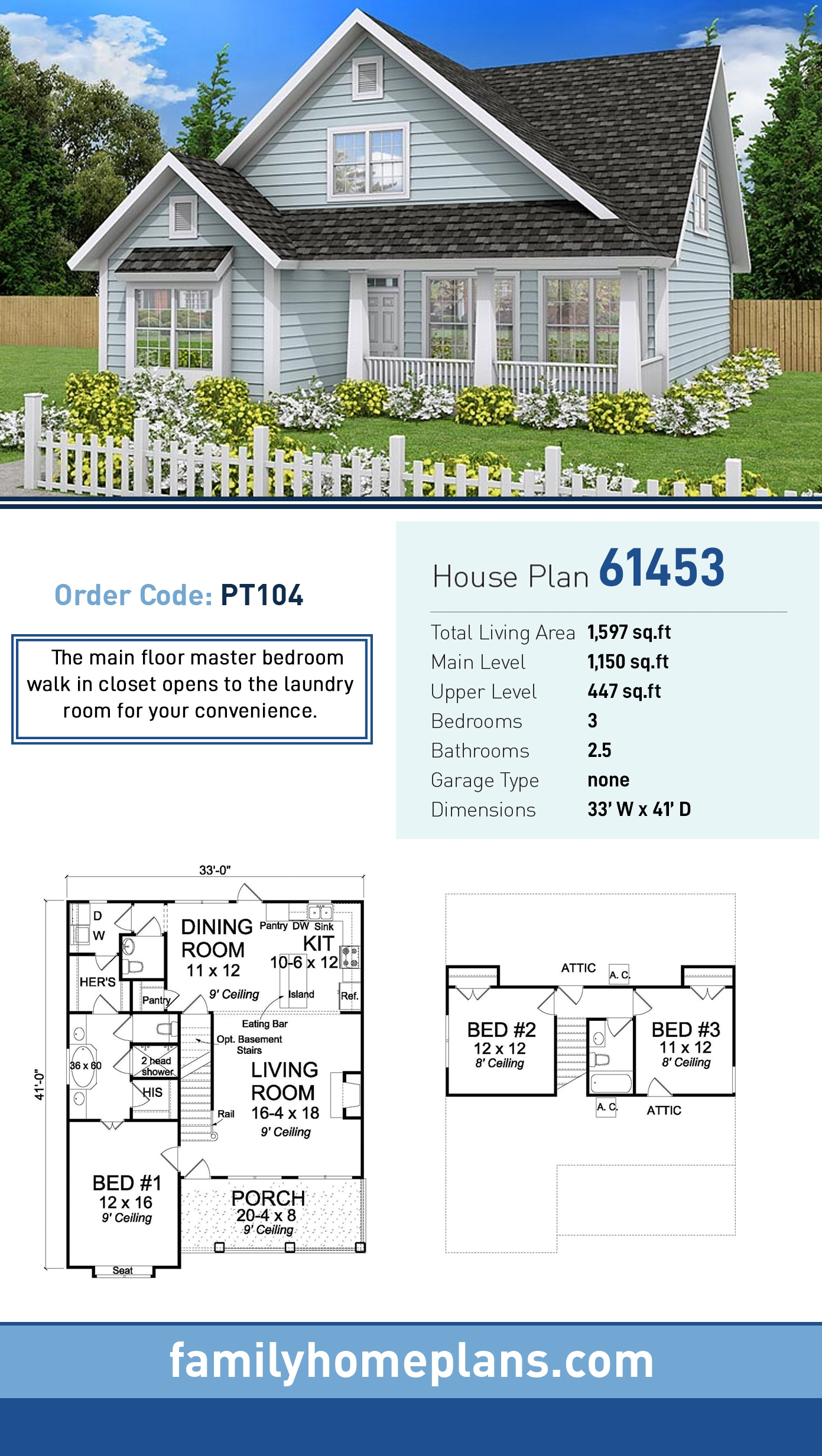 Cottage, Country, Traditional House Plan 61453 with 3 Beds, 3 Baths