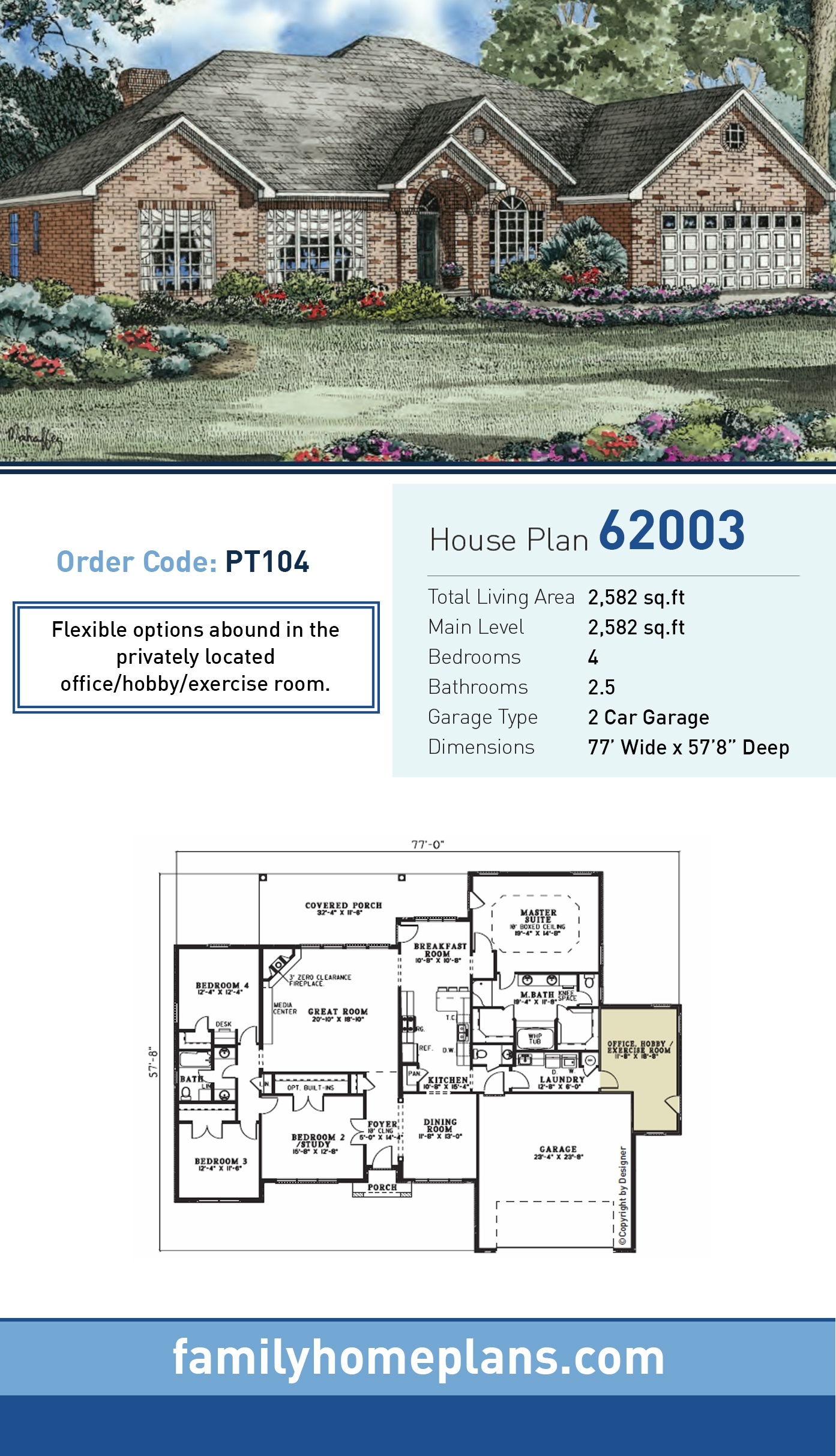 European, Traditional House Plan 62003 with 4 Beds, 3 Baths, 2 Car Garage