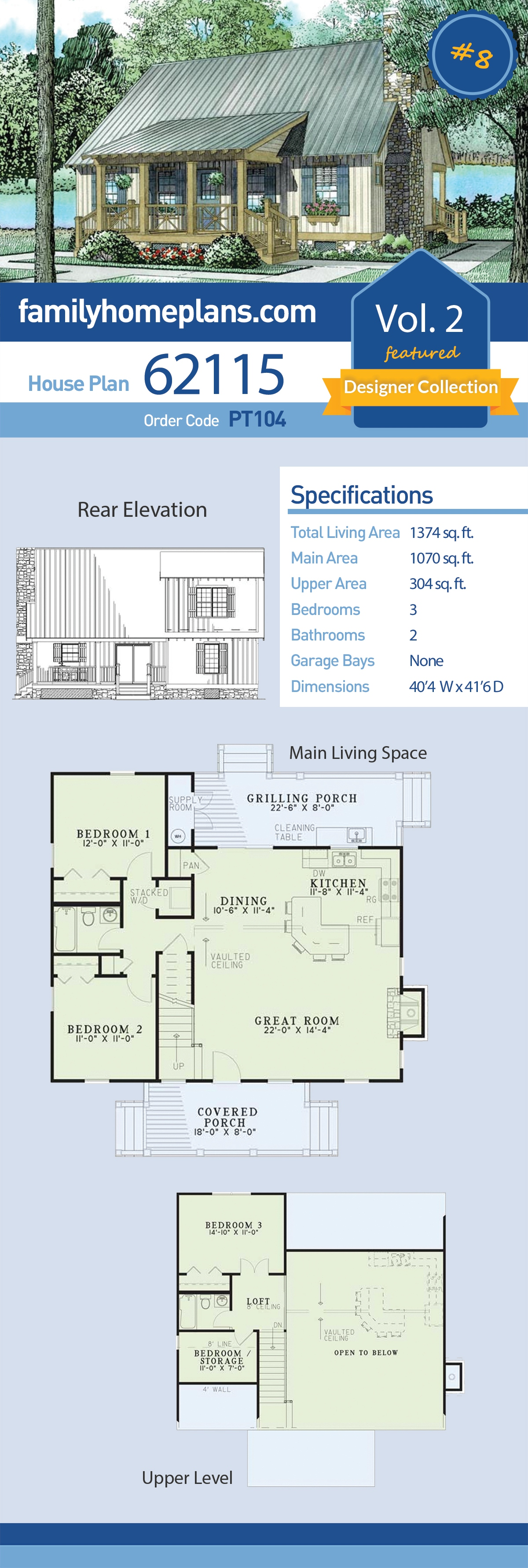 Cabin, Cottage, Country, Southern House Plan 62115 with 3 Beds, 2 Baths