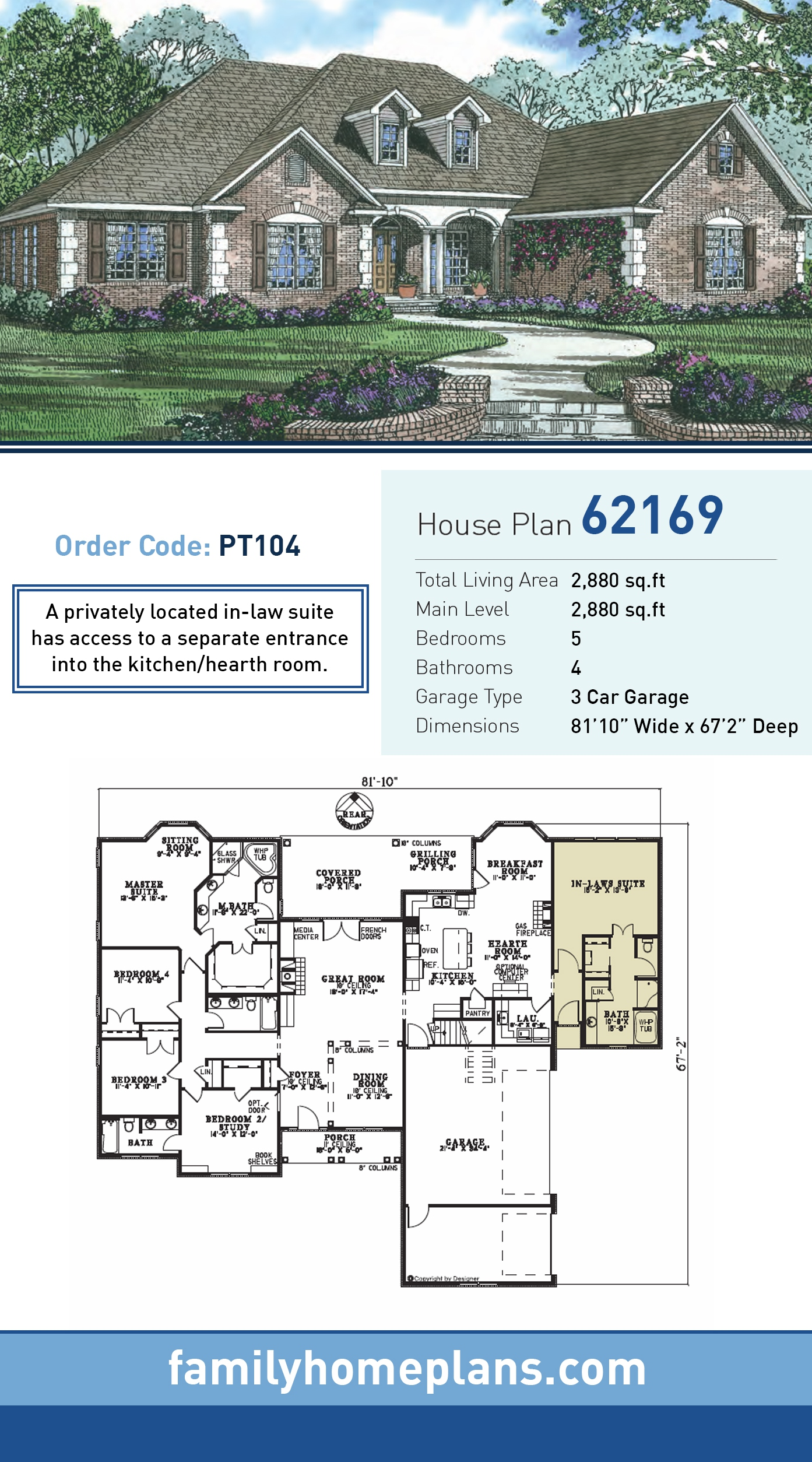 European, Traditional House Plan 62169 with 5 Beds, 4 Baths, 3 Car Garage
