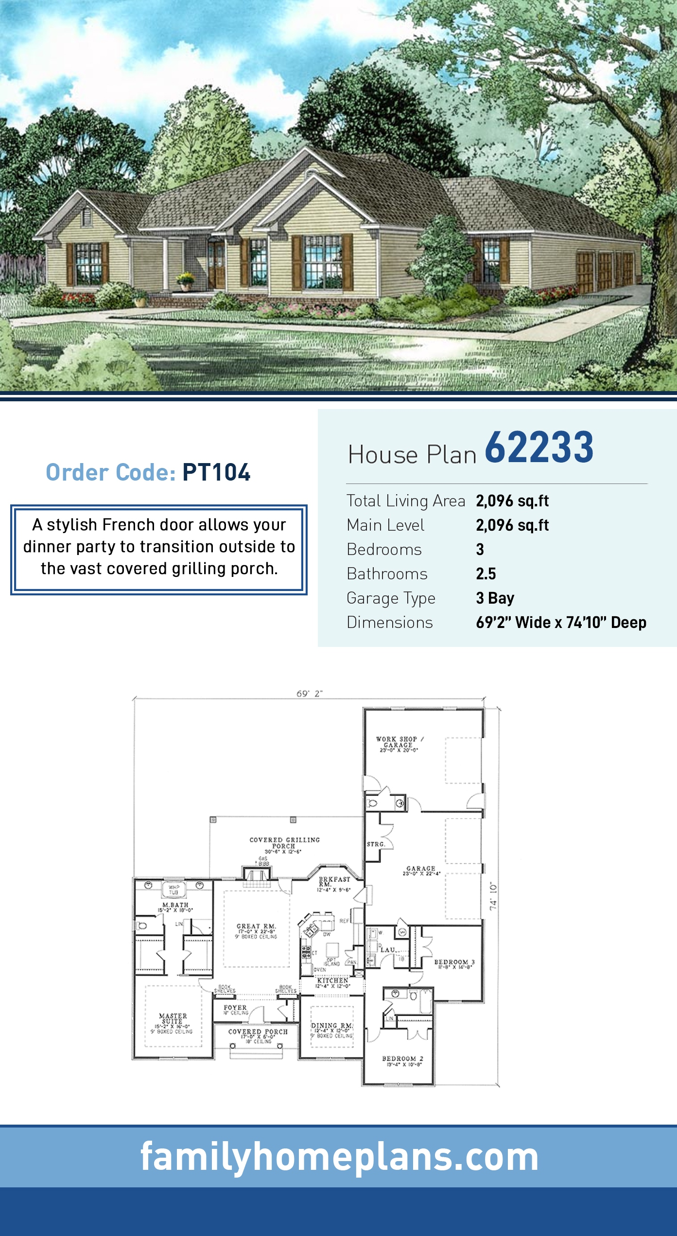 Traditional House Plan 62233 with 3 Beds, 3 Baths, 3 Car Garage