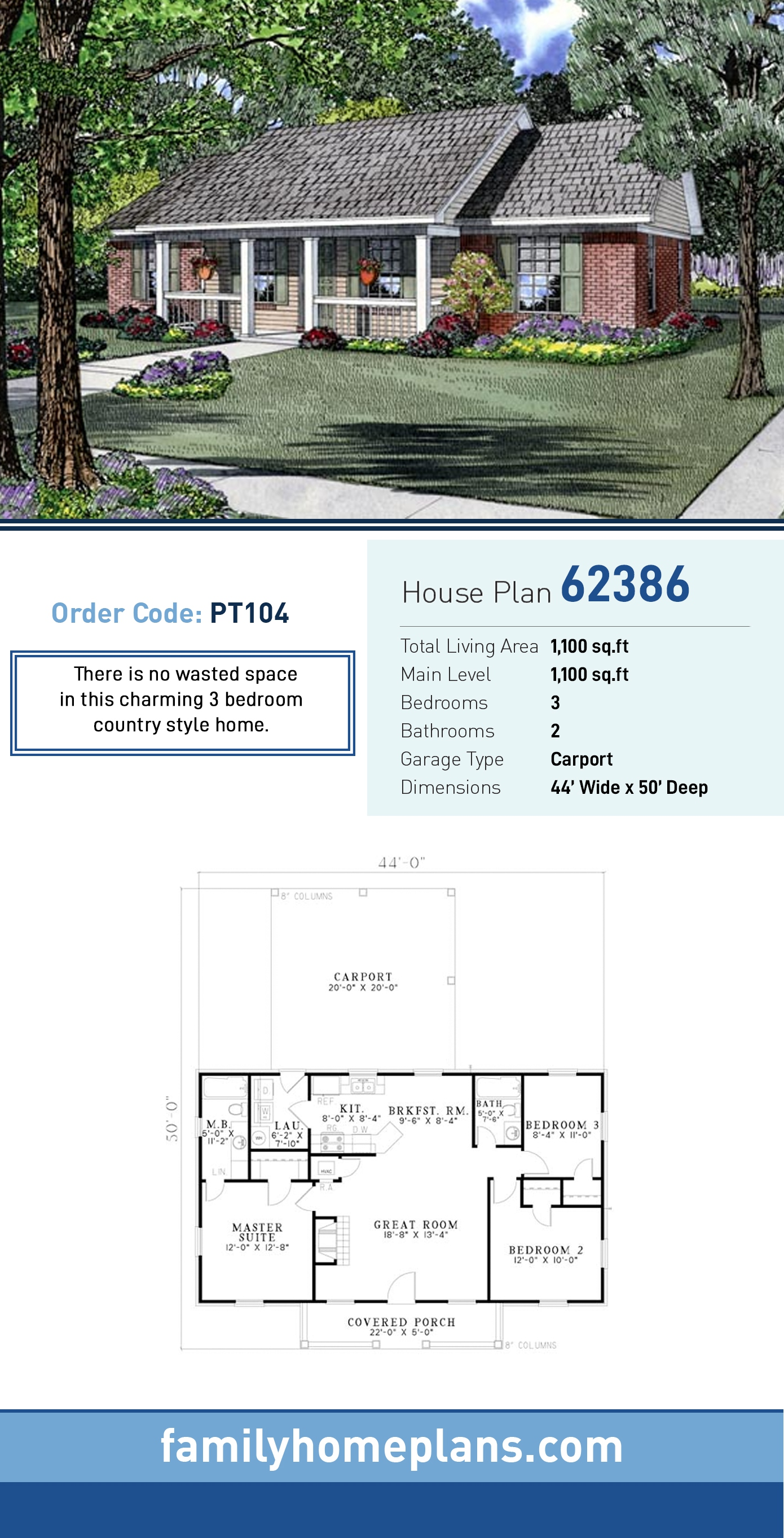 Country, Ranch House Plan 62386 with 3 Beds, 2 Baths