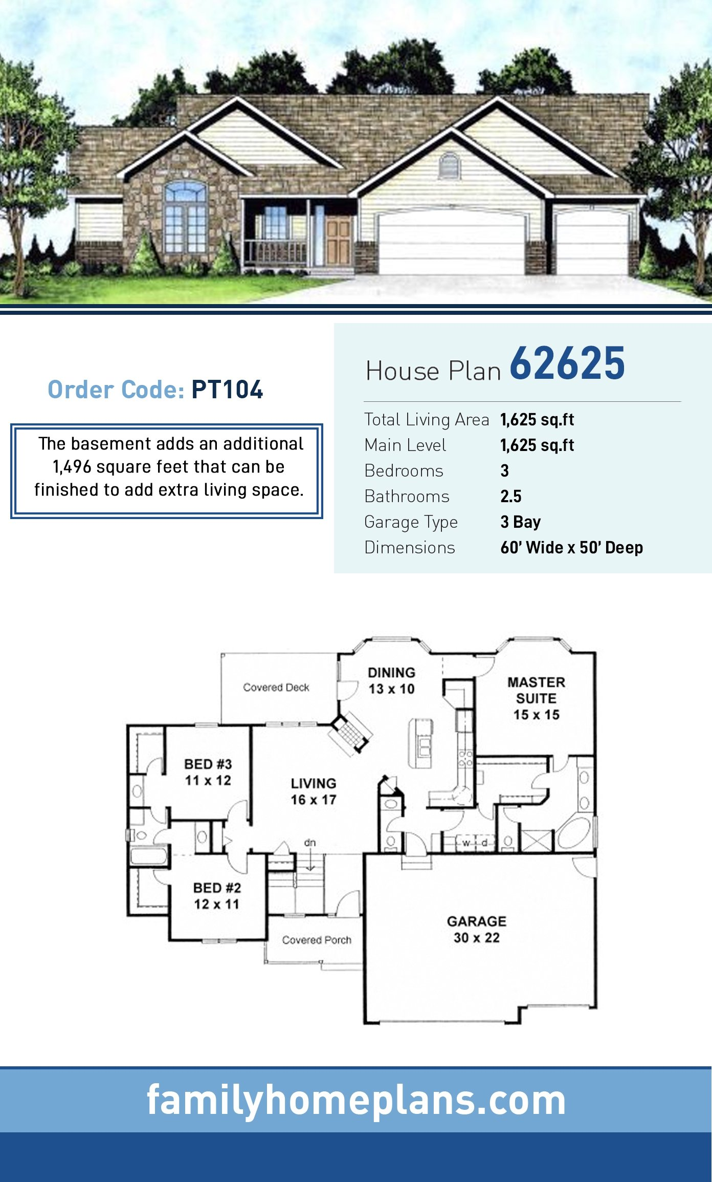 Ranch , Traditional House Plan 62625 with 3 Beds, 3 Baths, 3 Car Garage