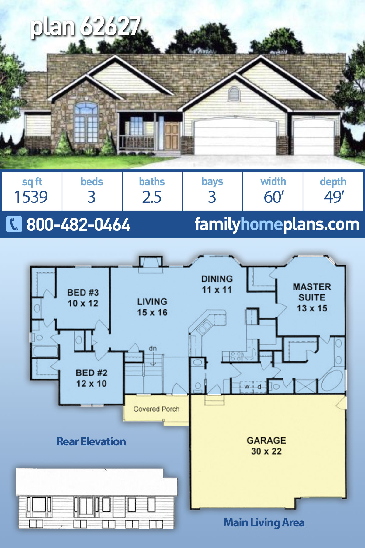Ranch, Traditional House Plan 62627 with 3 Beds, 3 Baths, 3 Car Garage
