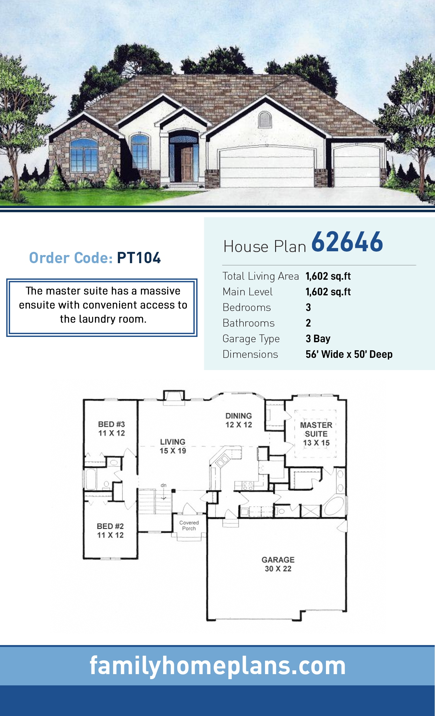 Traditional House Plan 62646 with 3 Beds, 2 Baths, 3 Car Garage