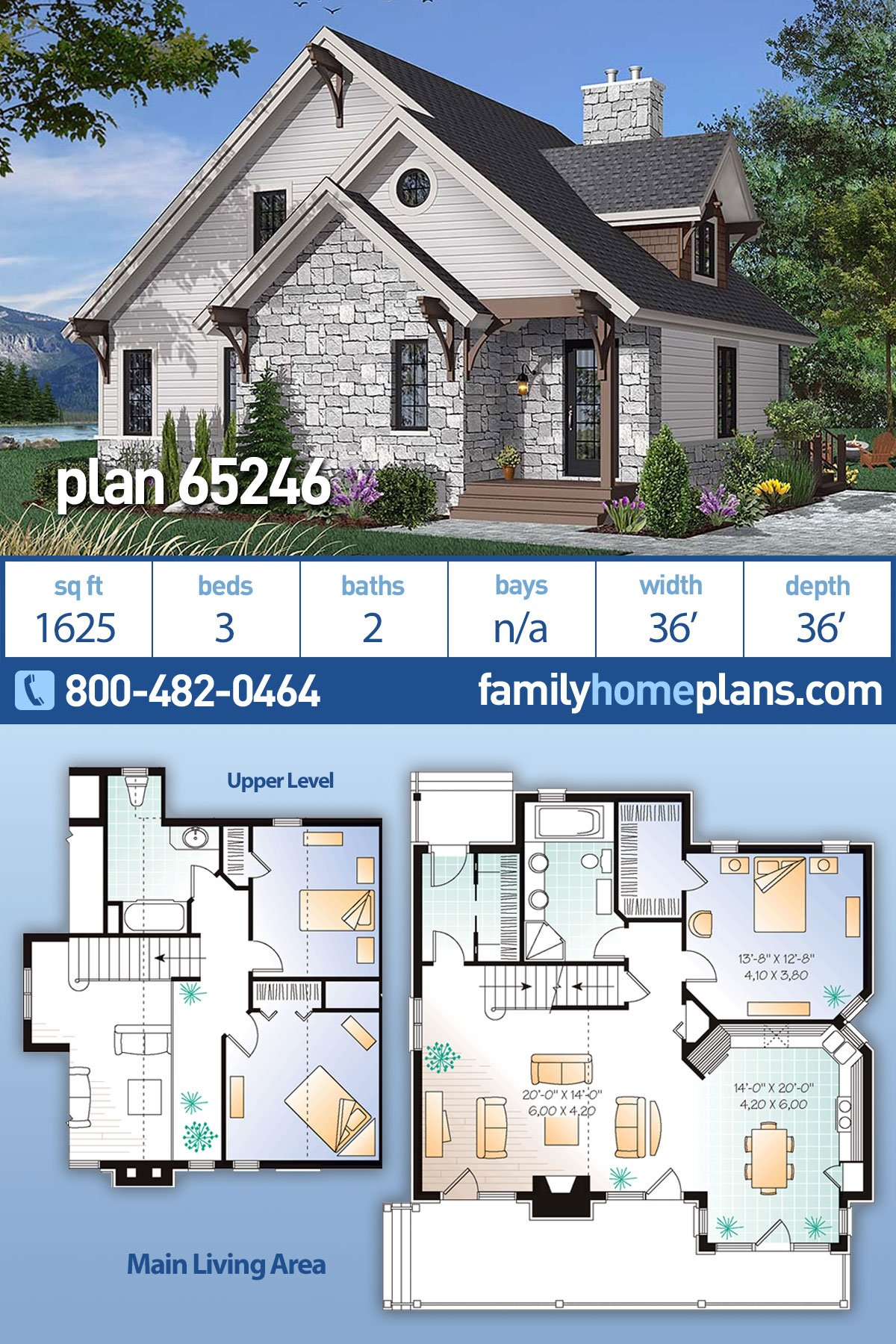 Bungalow, Cottage, Country, Craftsman House Plan 65246 with 3 Beds, 2 Baths