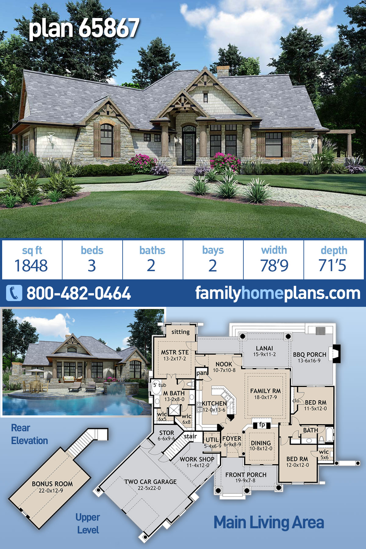 Cottage, Craftsman, Ranch, Tuscan House Plan 65867 with 3 Beds, 2 Baths, 2 Car Garage