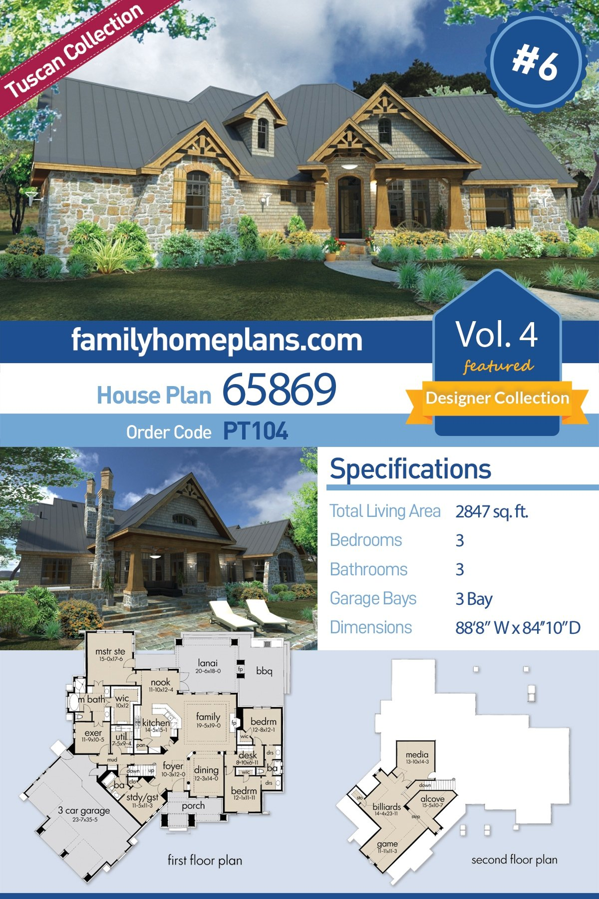 Cottage, Craftsman, Tuscan House Plan 65869 with 3 Beds, 3 Baths, 3 Car Garage