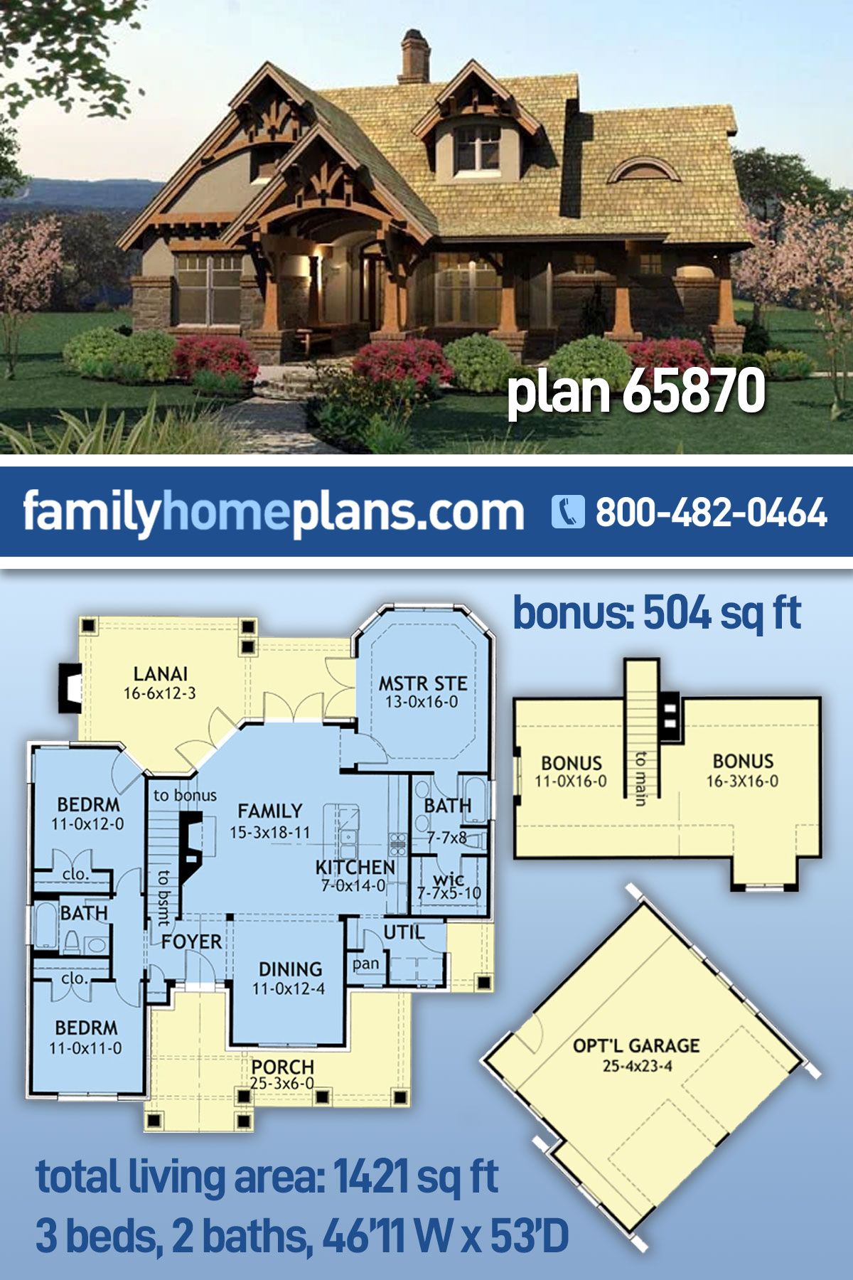 Bungalow, Cottage, Craftsman, Tuscan House Plan 65870 with 3 Beds, 2 Baths, 2 Car Garage