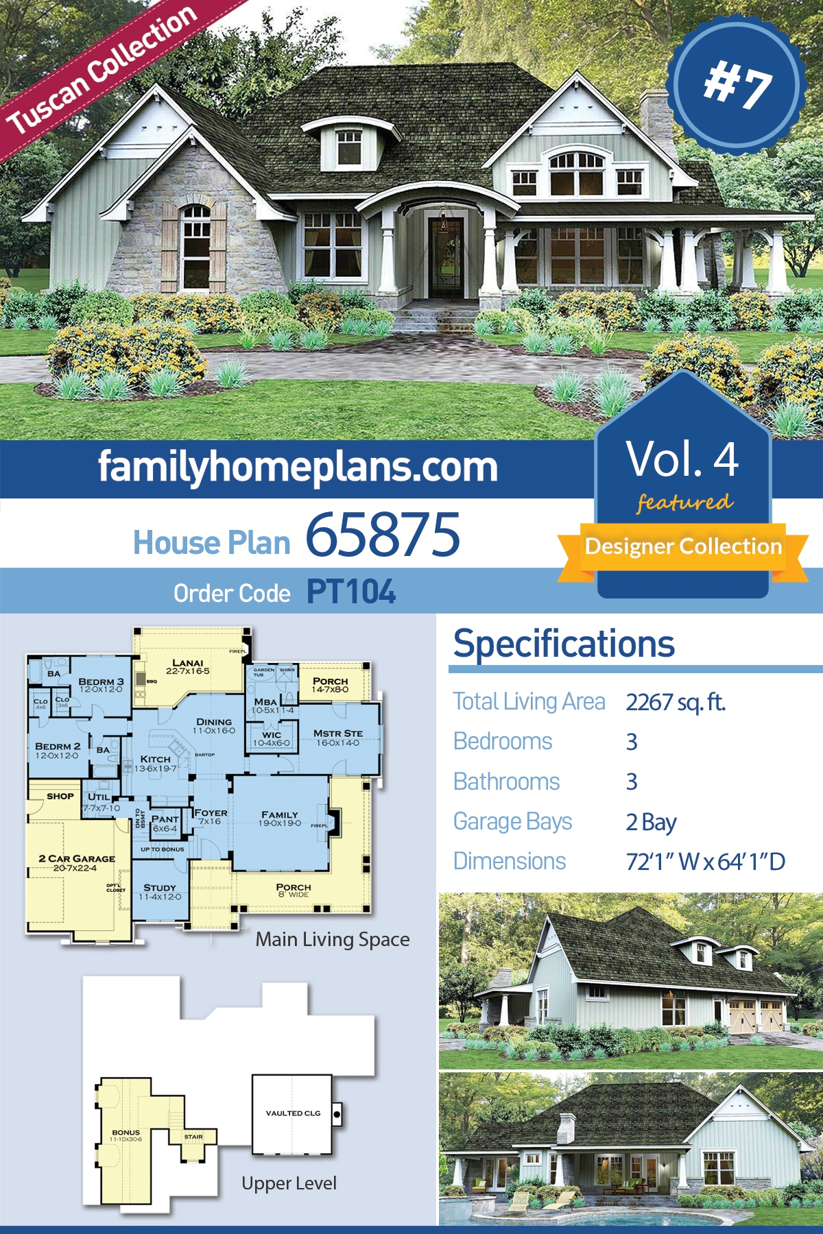 Bungalow , Cottage , Country , Tuscan House Plan 65875 with 3 Beds, 3 Baths, 2 Car Garage
