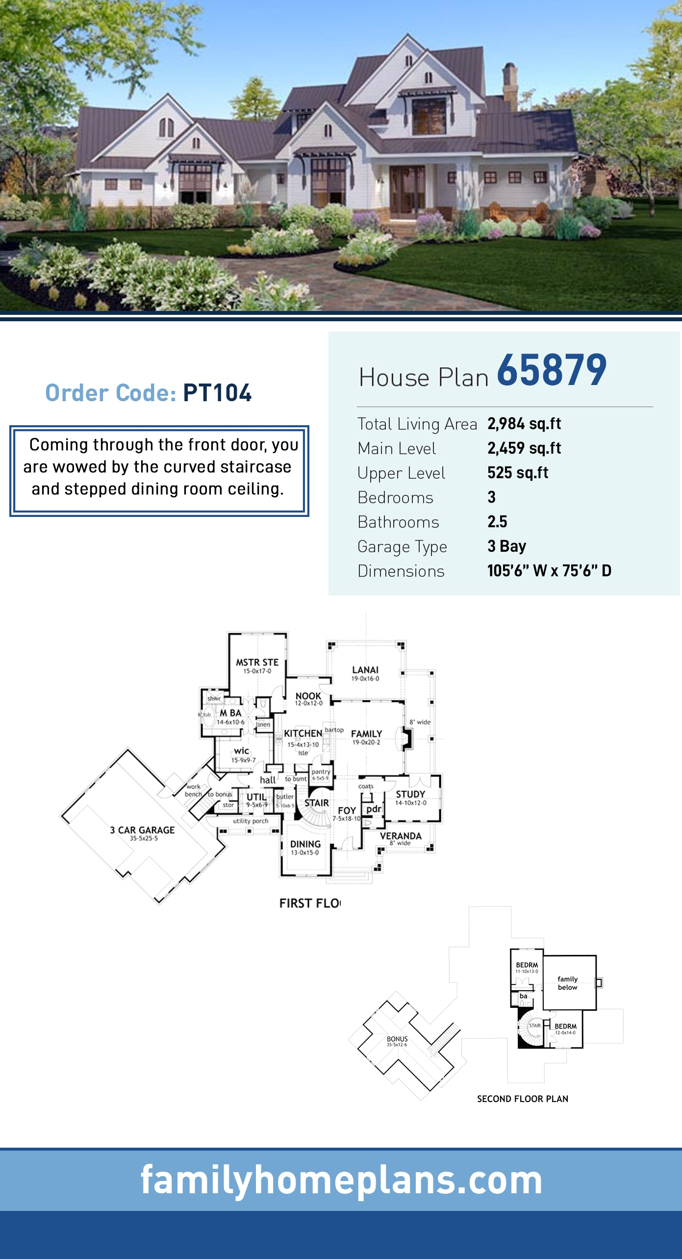 Country, Farmhouse, Traditional House Plan 65879 with 3 Beds, 3 Baths, 3 Car Garage