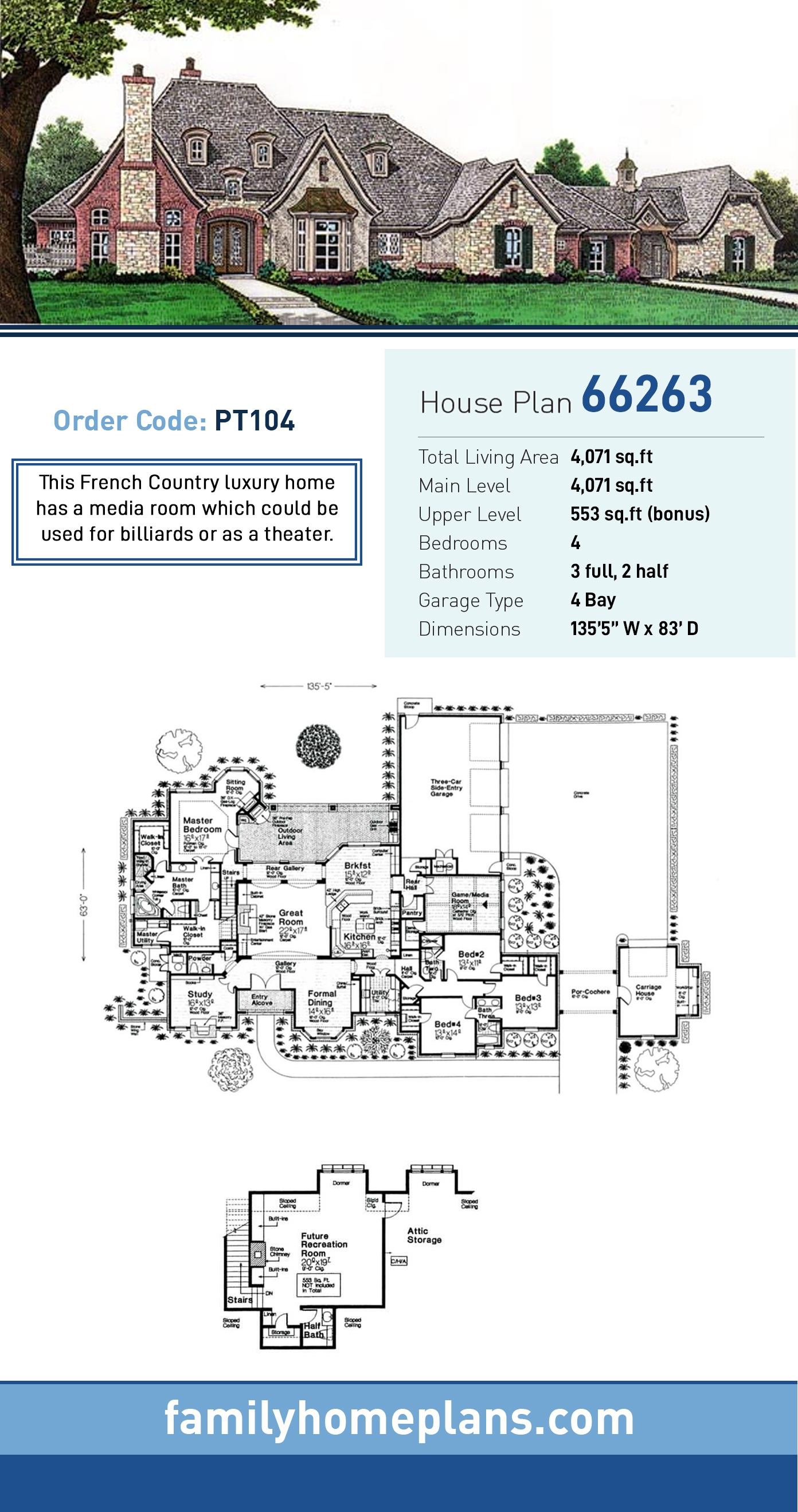 European House Plan 66263 with 4 Beds, 5 Baths, 4 Car Garage