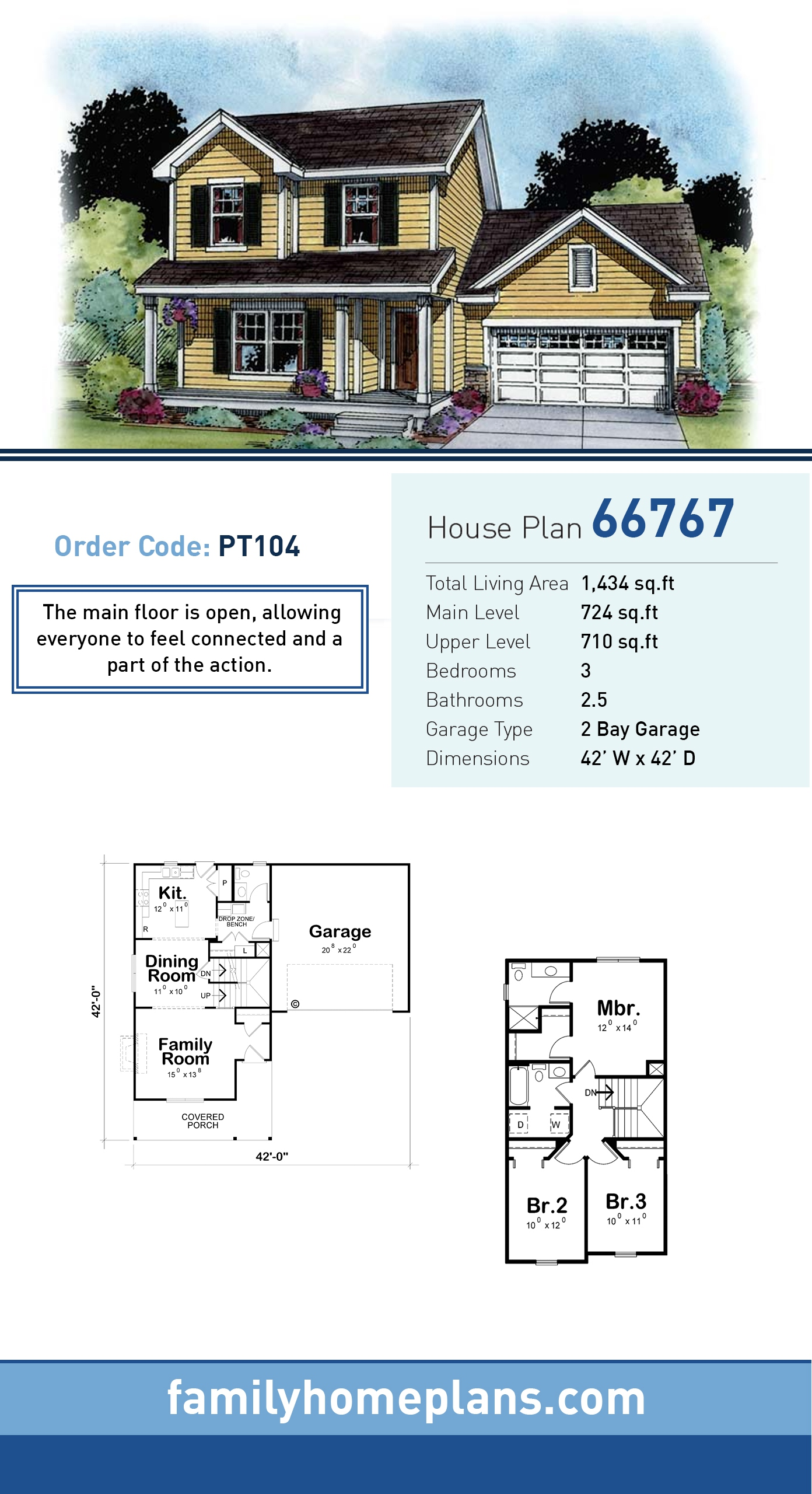 Country, Southern, Traditional House Plan 66767 with 3 Beds, 3 Baths, 2 Car Garage