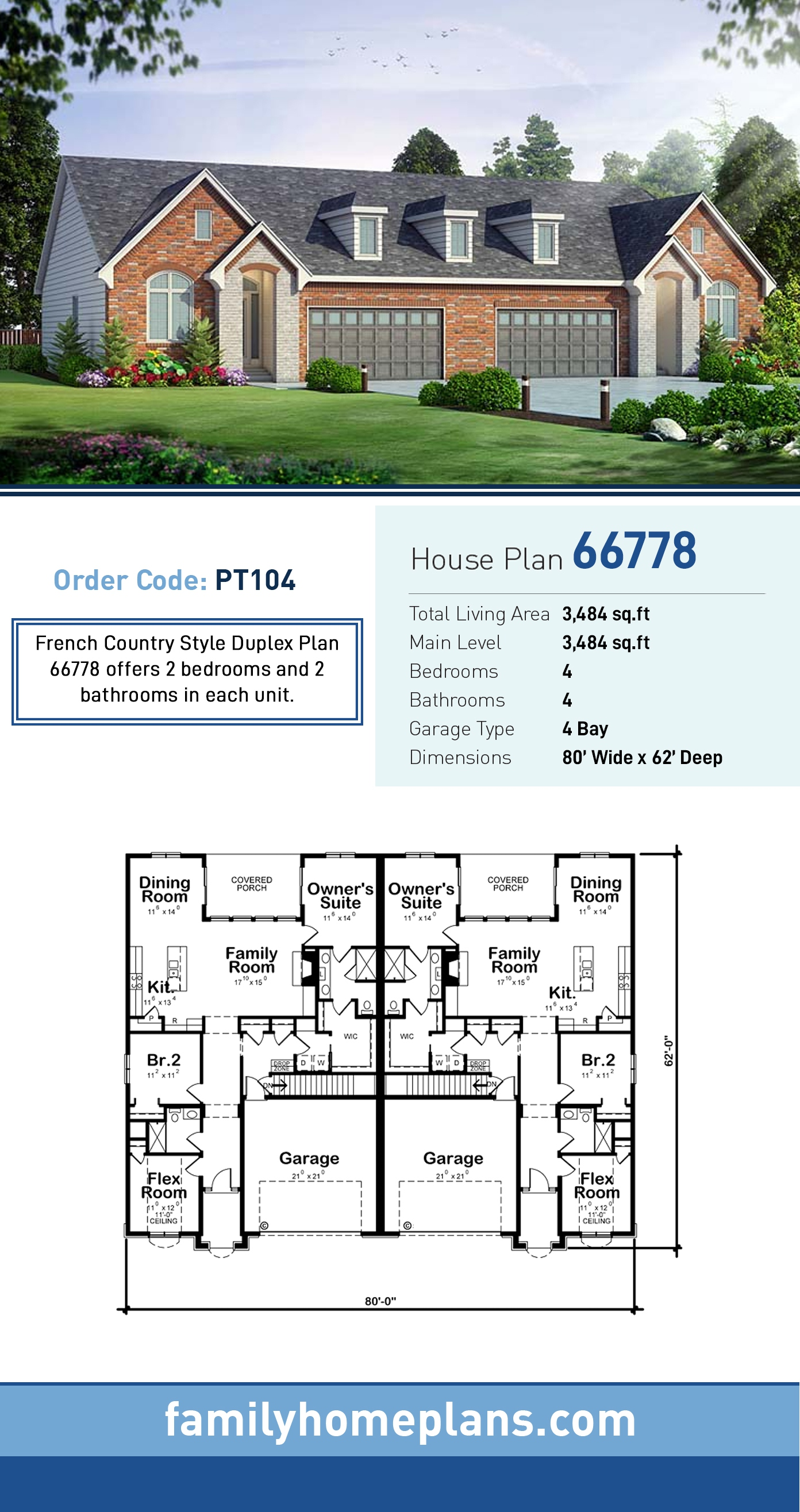 European, French Country Multi-Family Plan 66778 with 4 Beds, 4 Baths, 4 Car Garage