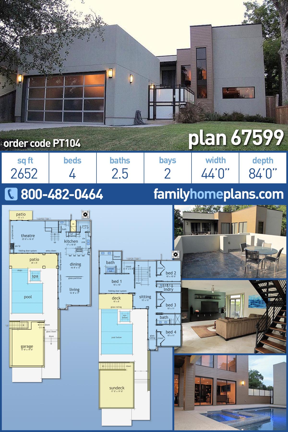 Coastal, Contemporary, Modern House Plan 67599 with 4 Beds, 3 Baths, 2 Car Garage