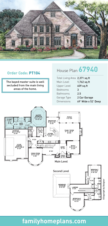 European , Victorian House Plan 67940 with 3 Beds, 3 Baths, 2 Car Garage