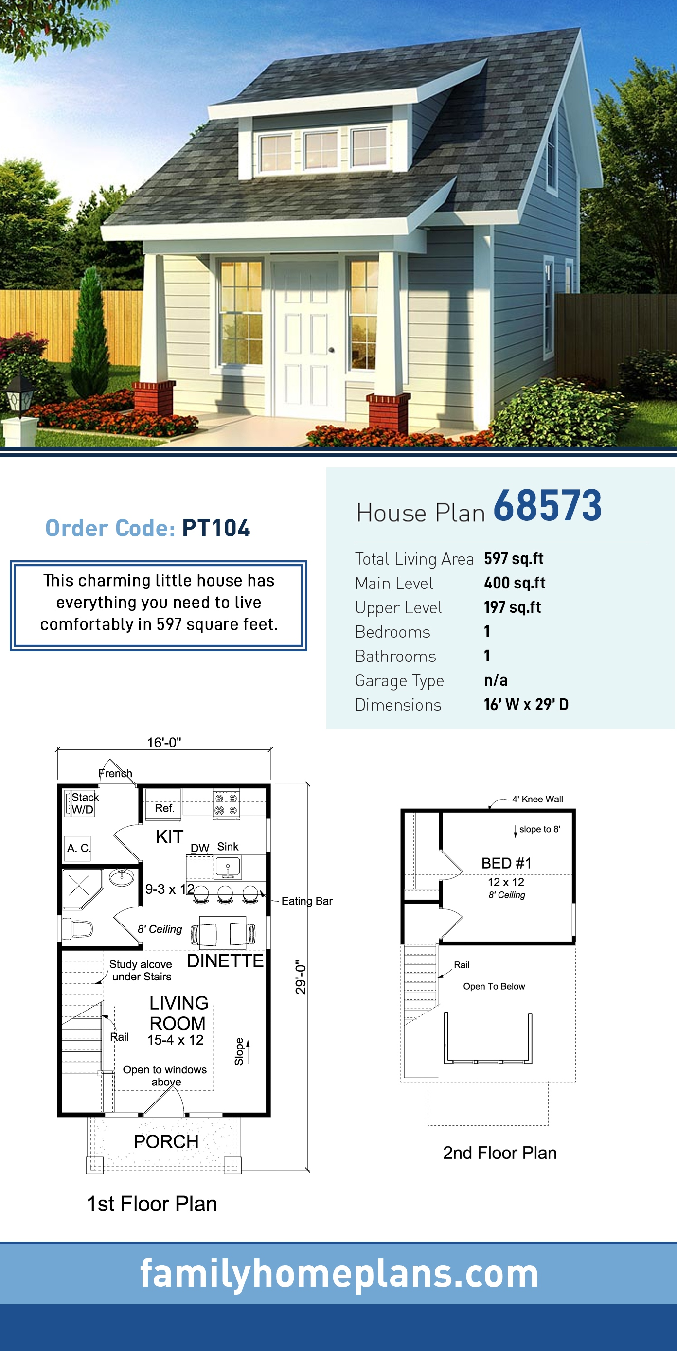 Contemporary, Cottage House Plan 68573 with 1 Beds, 1 Baths