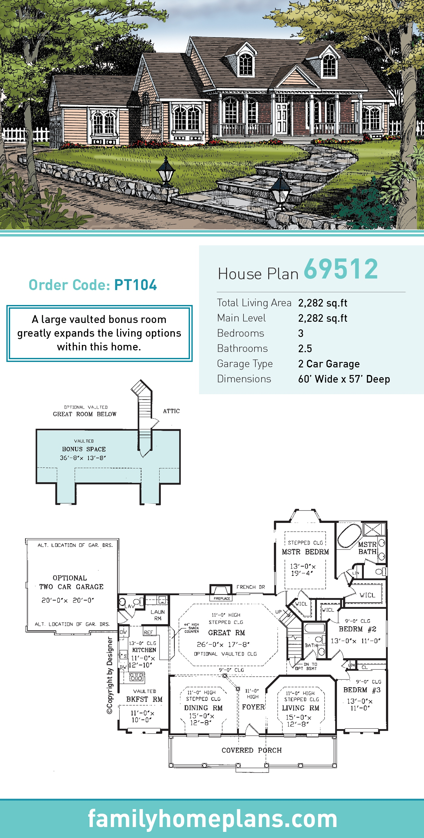 Cape Cod, Country House Plan 69512 with 3 Beds, 3 Baths, 2 Car Garage