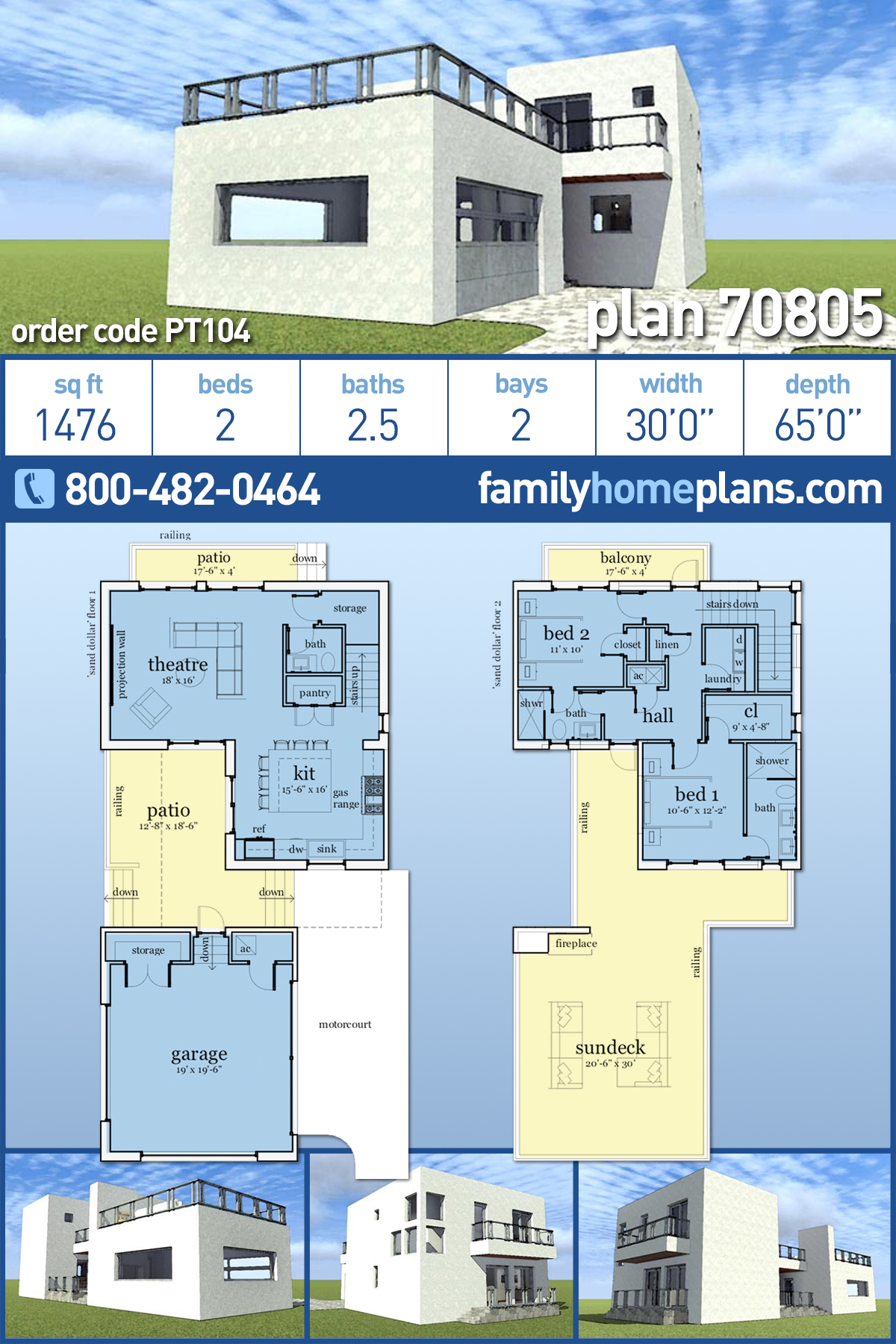 Florida, Modern House Plan 70805 with 2 Beds , 3 Baths , 2 Car Garage