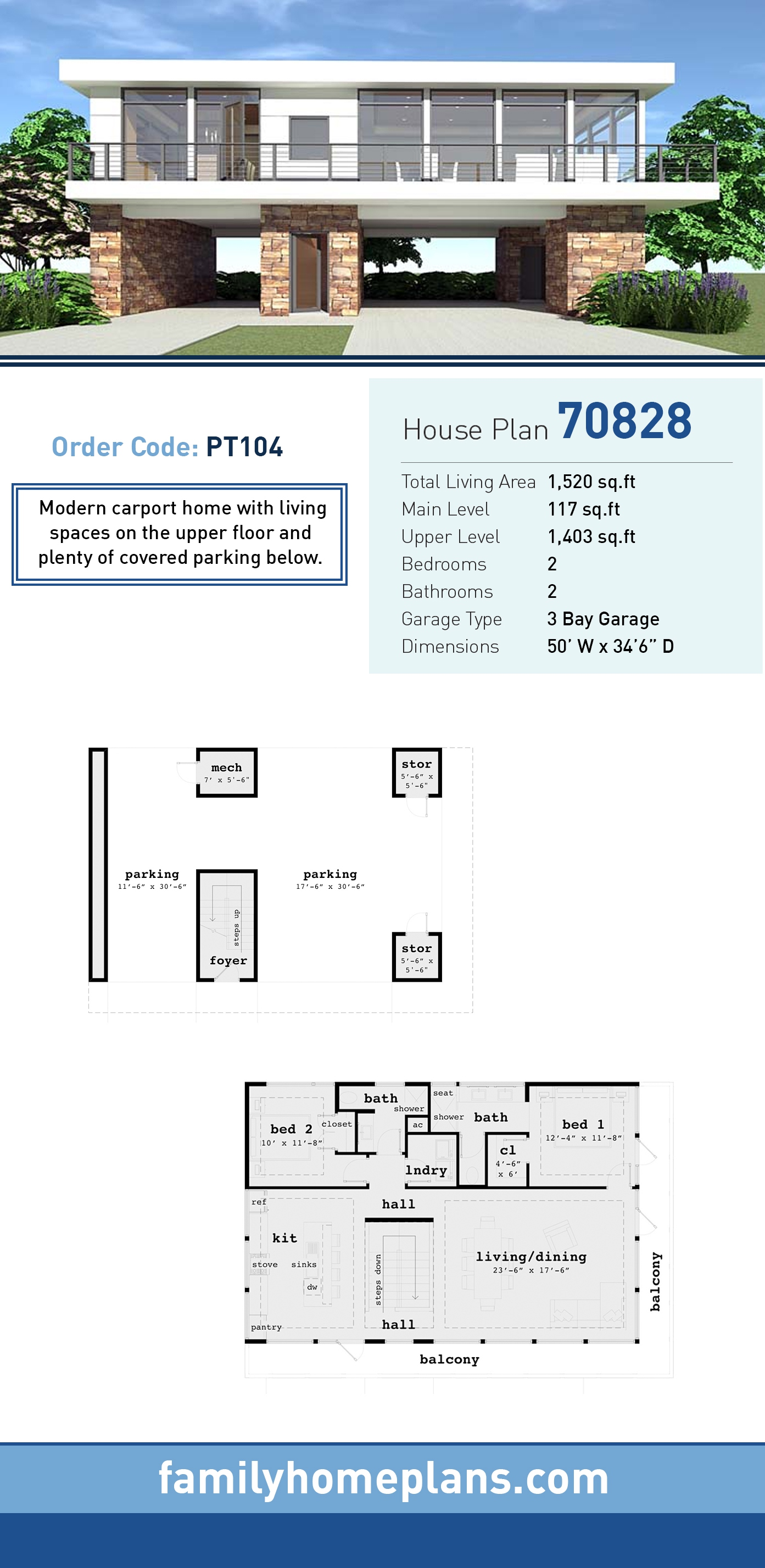 Modern House Plan 70828 with 2 Beds, 2 Baths, 3 Car Garage