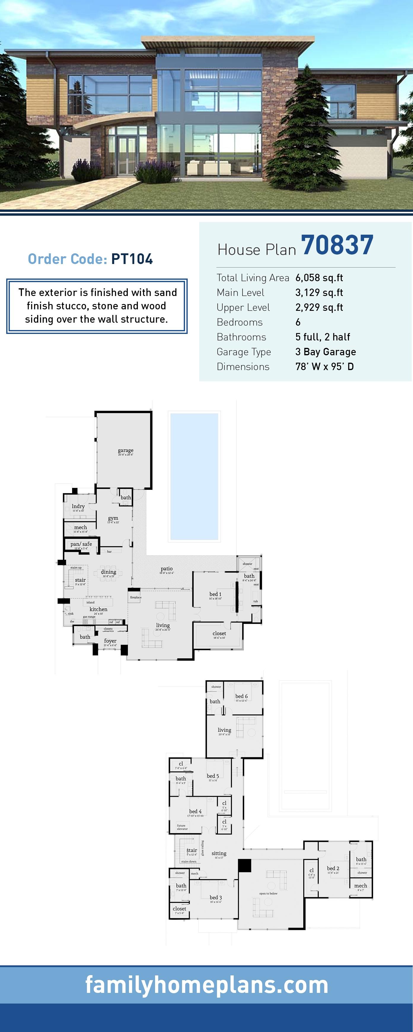 Modern House Plan 70837 with 6 Beds, 7 Baths, 3 Car Garage