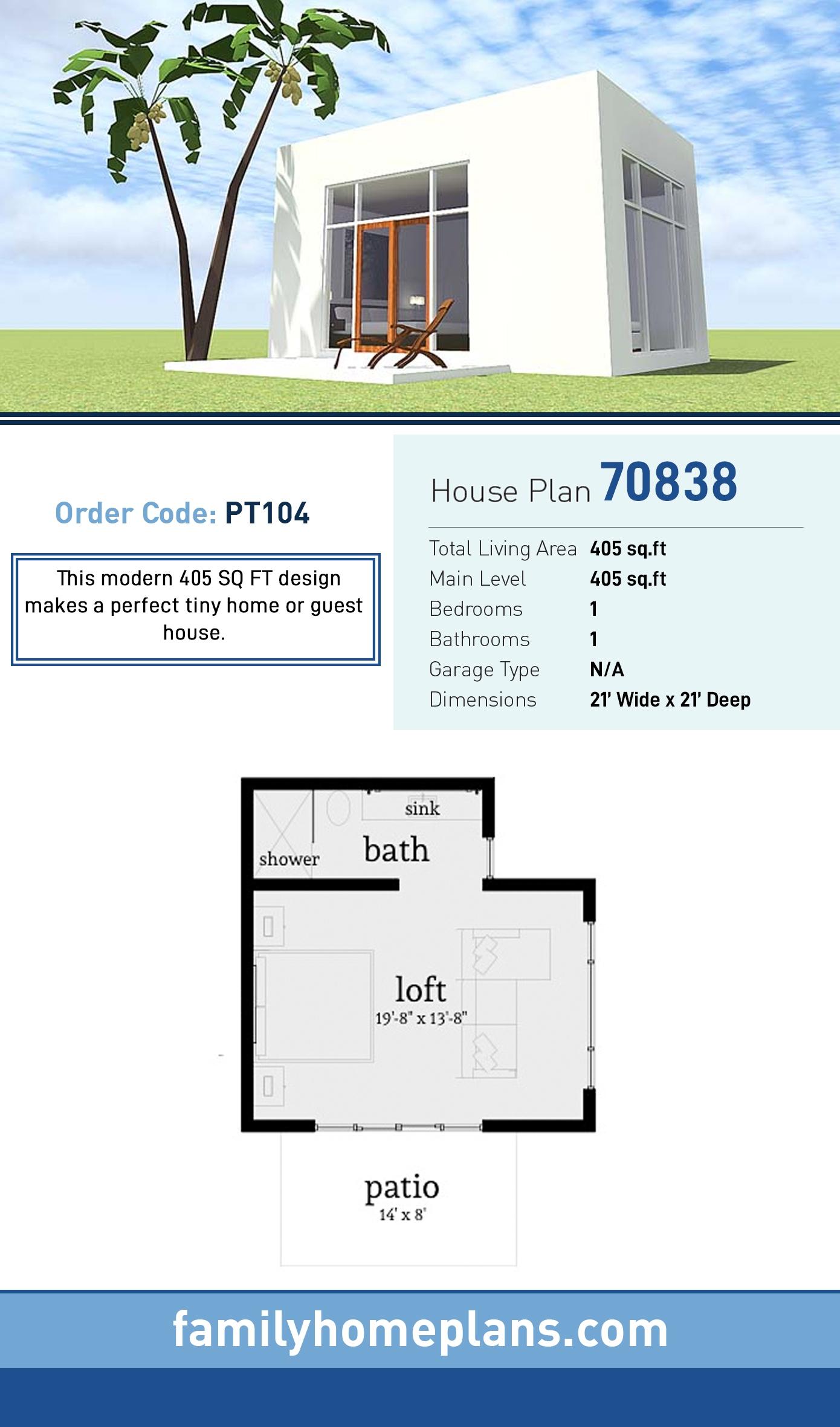 Coastal, Modern House Plan 70838 with 1 Beds, 1 Baths