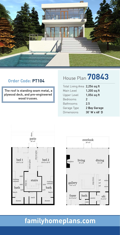 Modern House Plan 70843 with 2 Beds, 3 Baths, 2 Car Garage