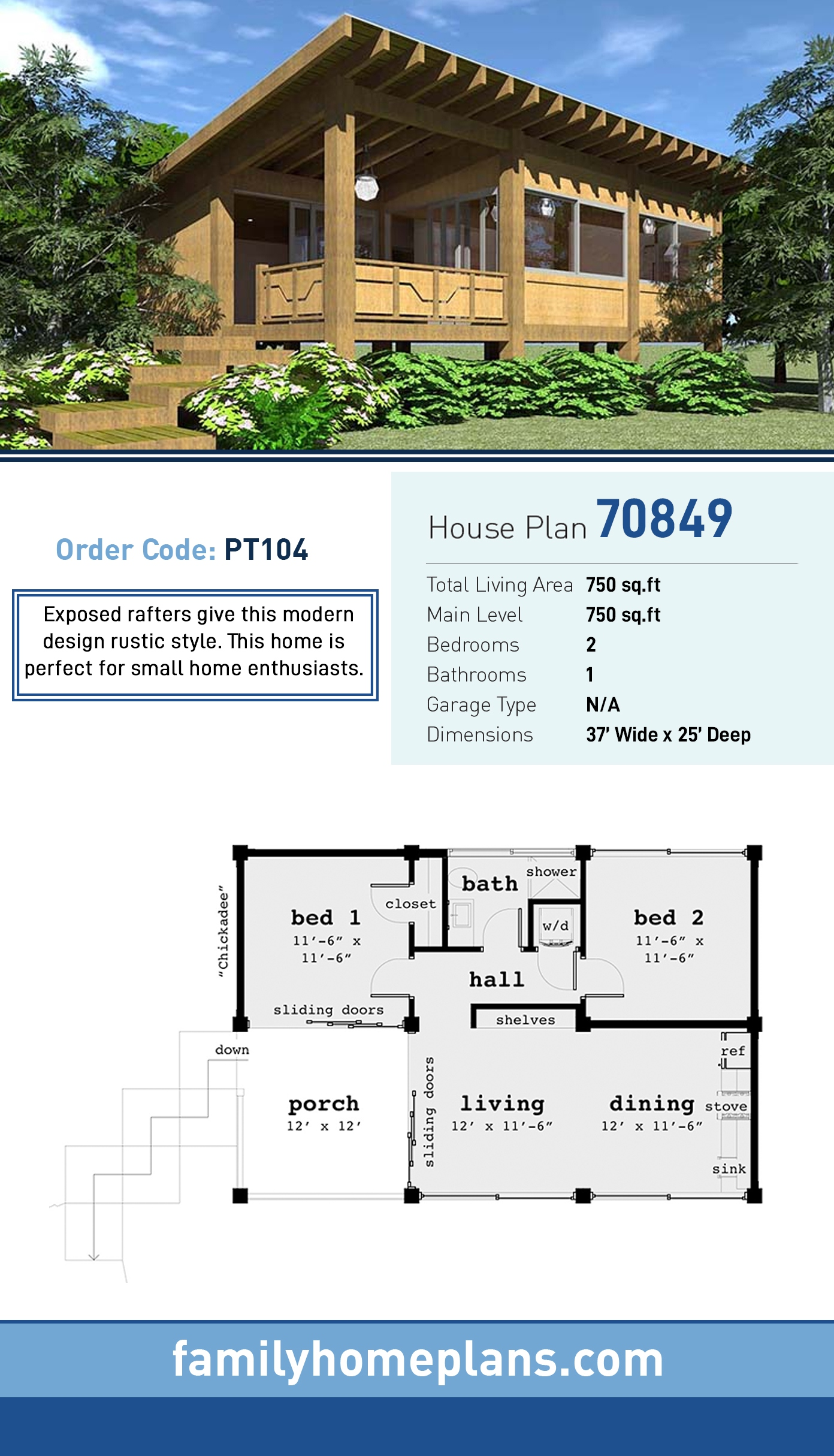 Cabin, Modern, Ranch, Southwest House Plan 70849 with 2 Beds, 1 Baths
