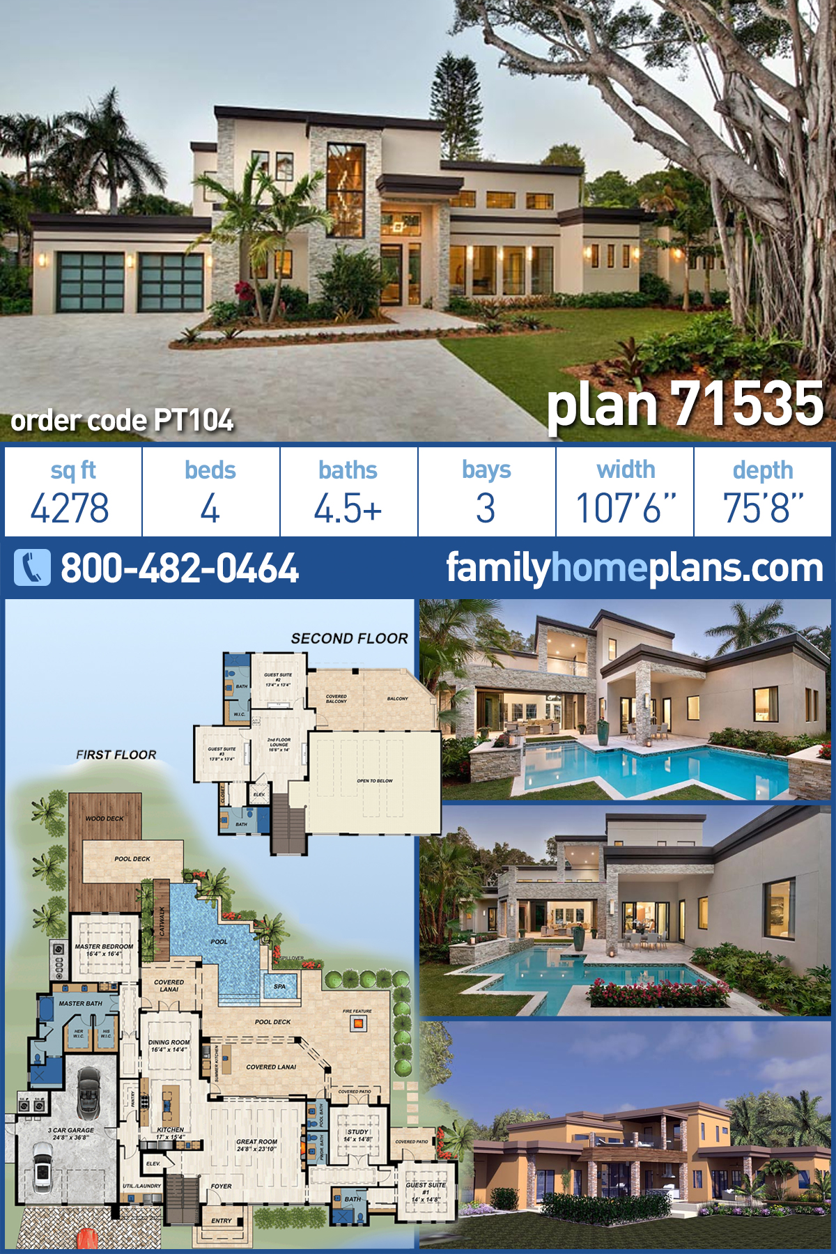 Contemporary , Modern House Plan 71535 with 4 Beds, 6 Baths, 3 Car Garage