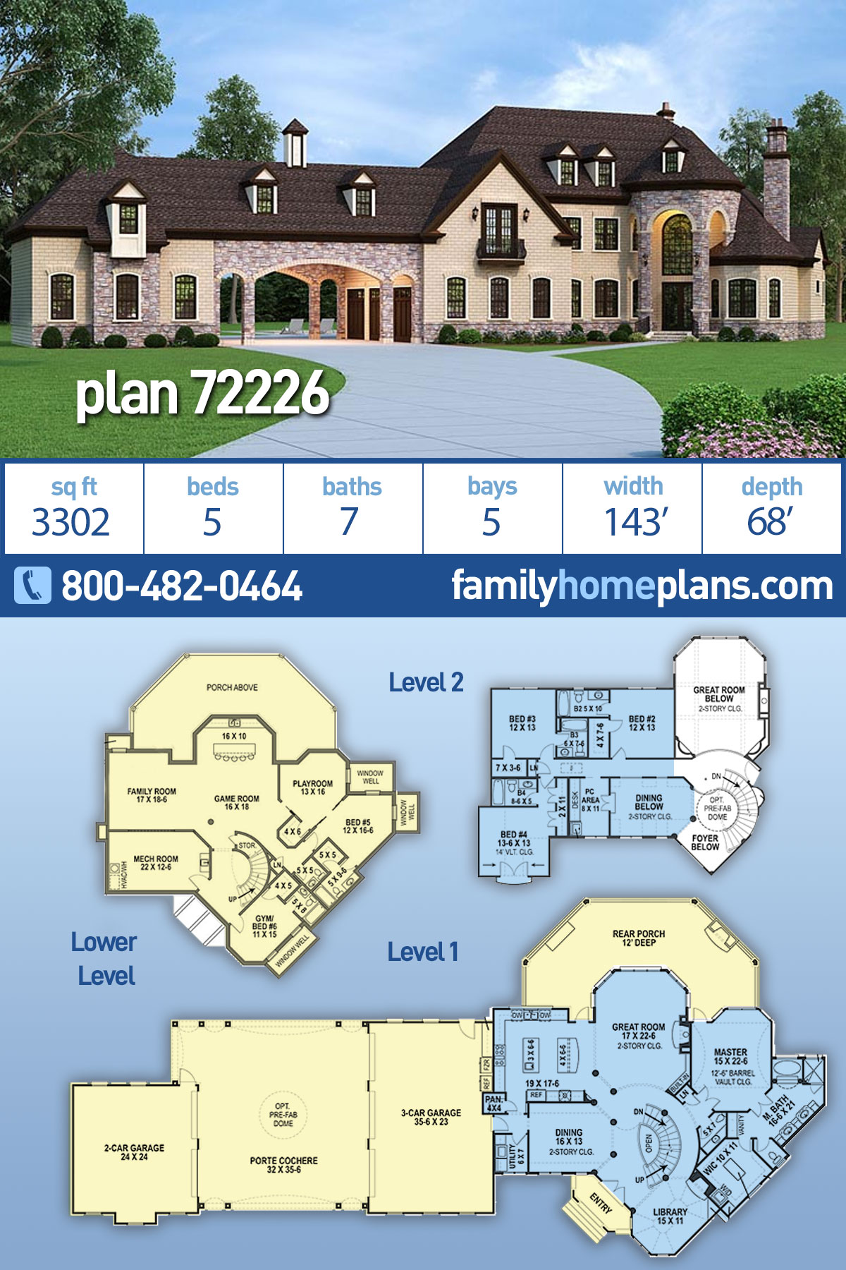 European, French Country House Plan 72226 with 5 Beds, 5 Baths, 5 Car Garage