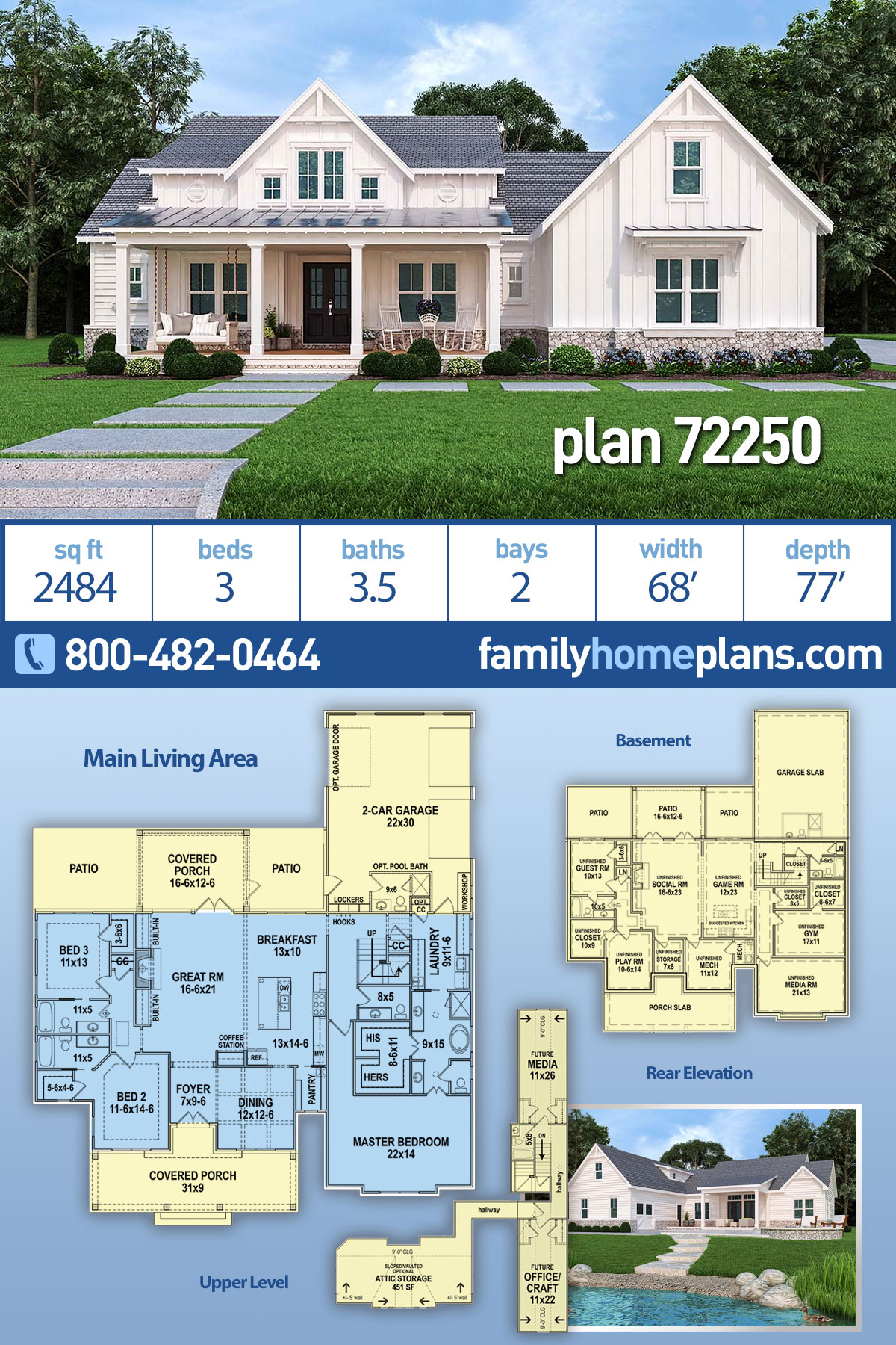 Country , Modern Farmhouse , Modern , One-Story House Plan 72250 with 3 Beds, 4 Baths, 2 Car Garage