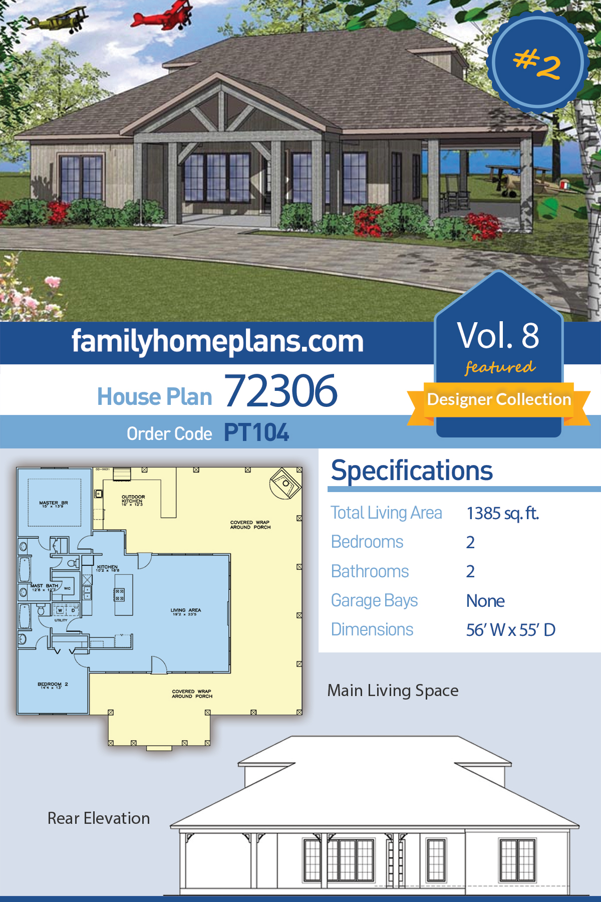 Coastal, Southern House Plan 72306 with 2 Beds, 2 Baths