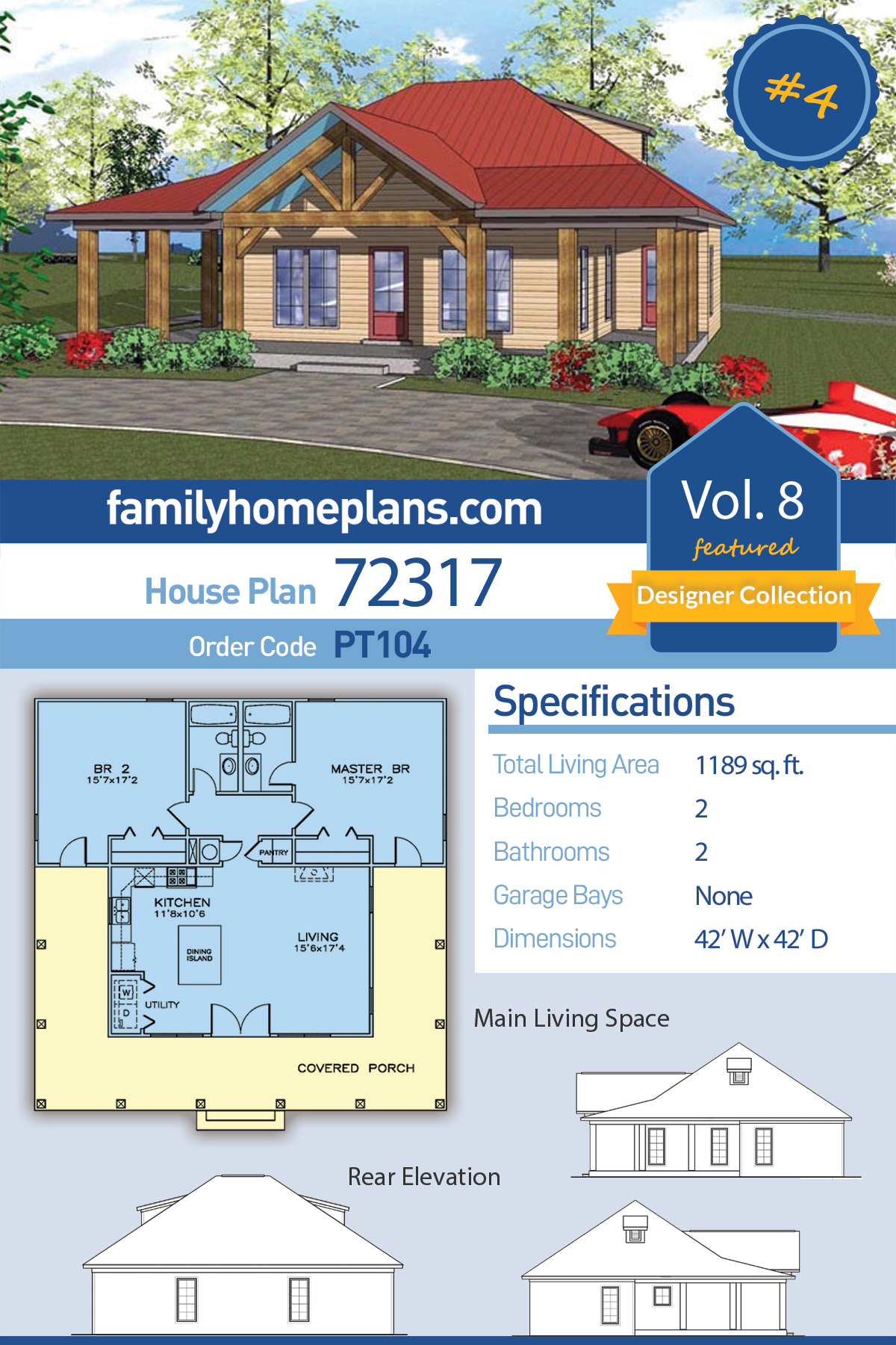 Cottage , Florida , Southern House Plan 72317 with 2 Beds, 2 Baths