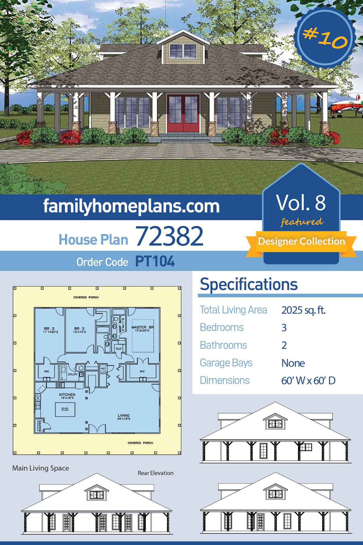 Bungalow, Country, Southern House Plan 72382 with 3 Beds, 2 Baths