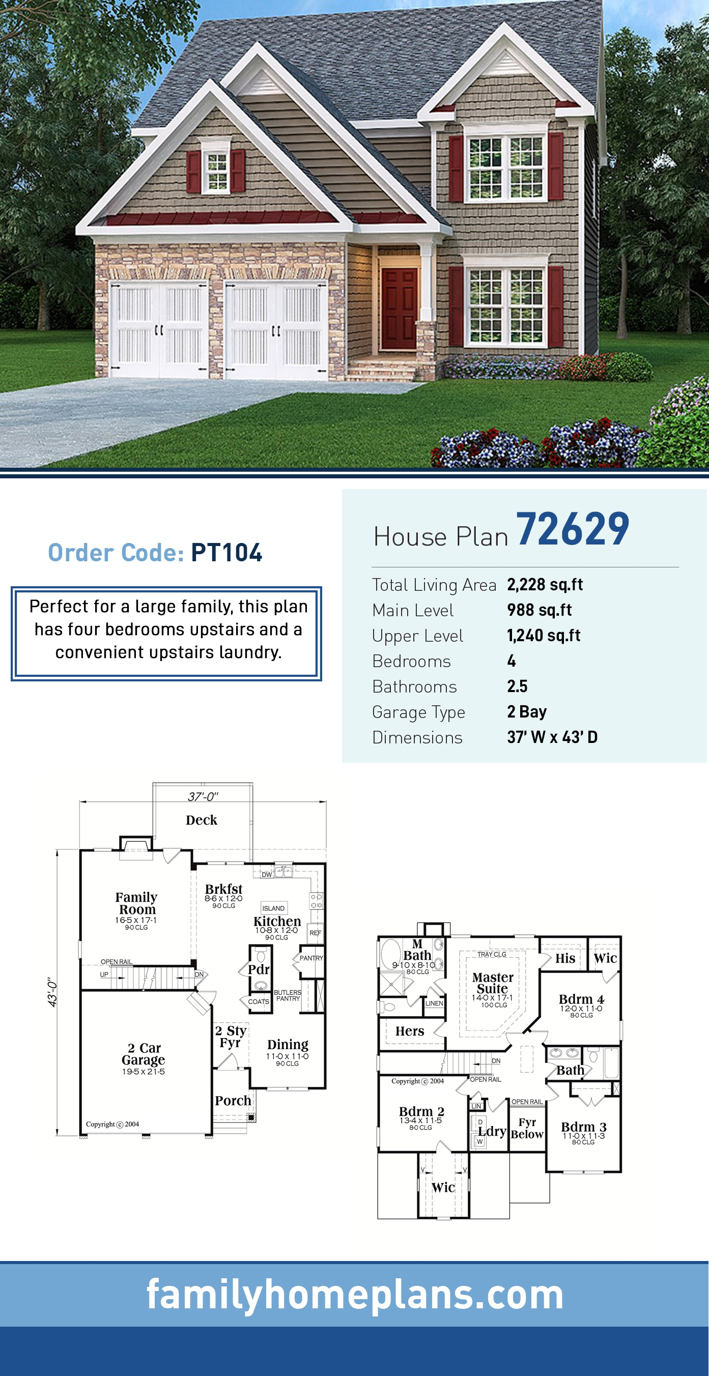 House Plan 72629 with 4 Beds, 3 Baths, 2 Car Garage