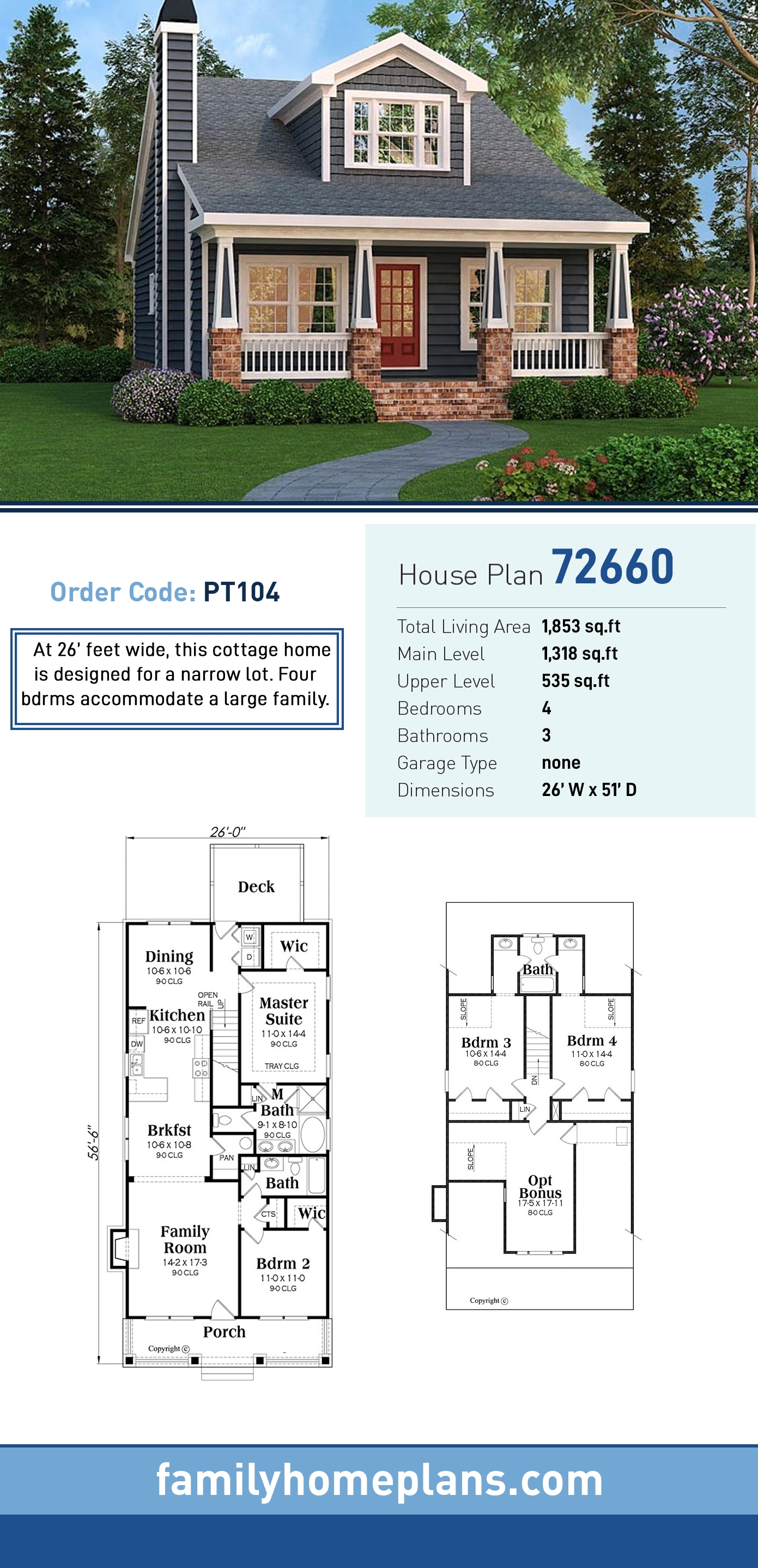 Bungalow, Cottage, Country, Craftsman, Southern House Plan 72660 with 4 Beds, 3 Baths