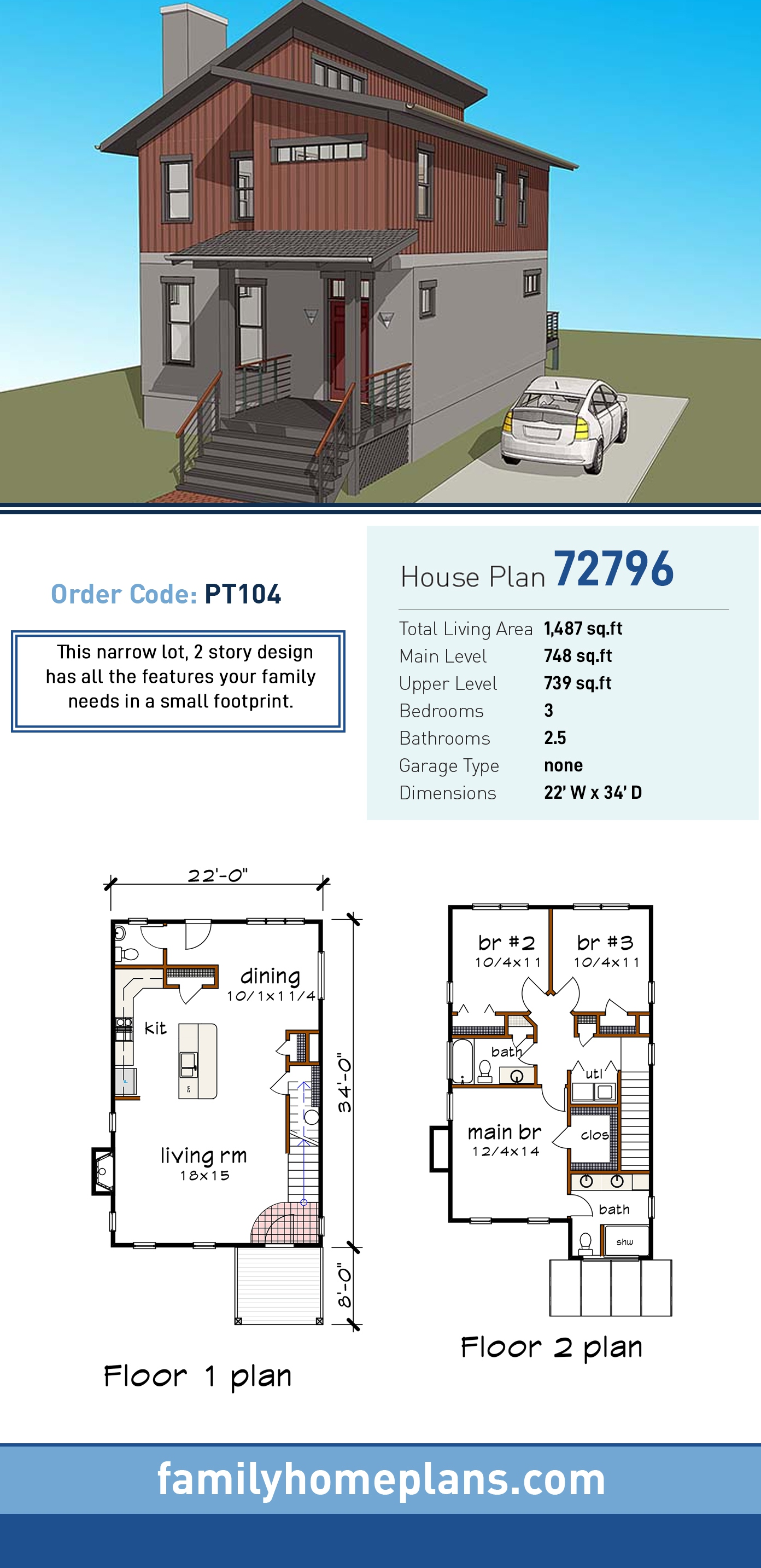 Contemporary House Plan 72796 with 3 Beds, 3 Baths