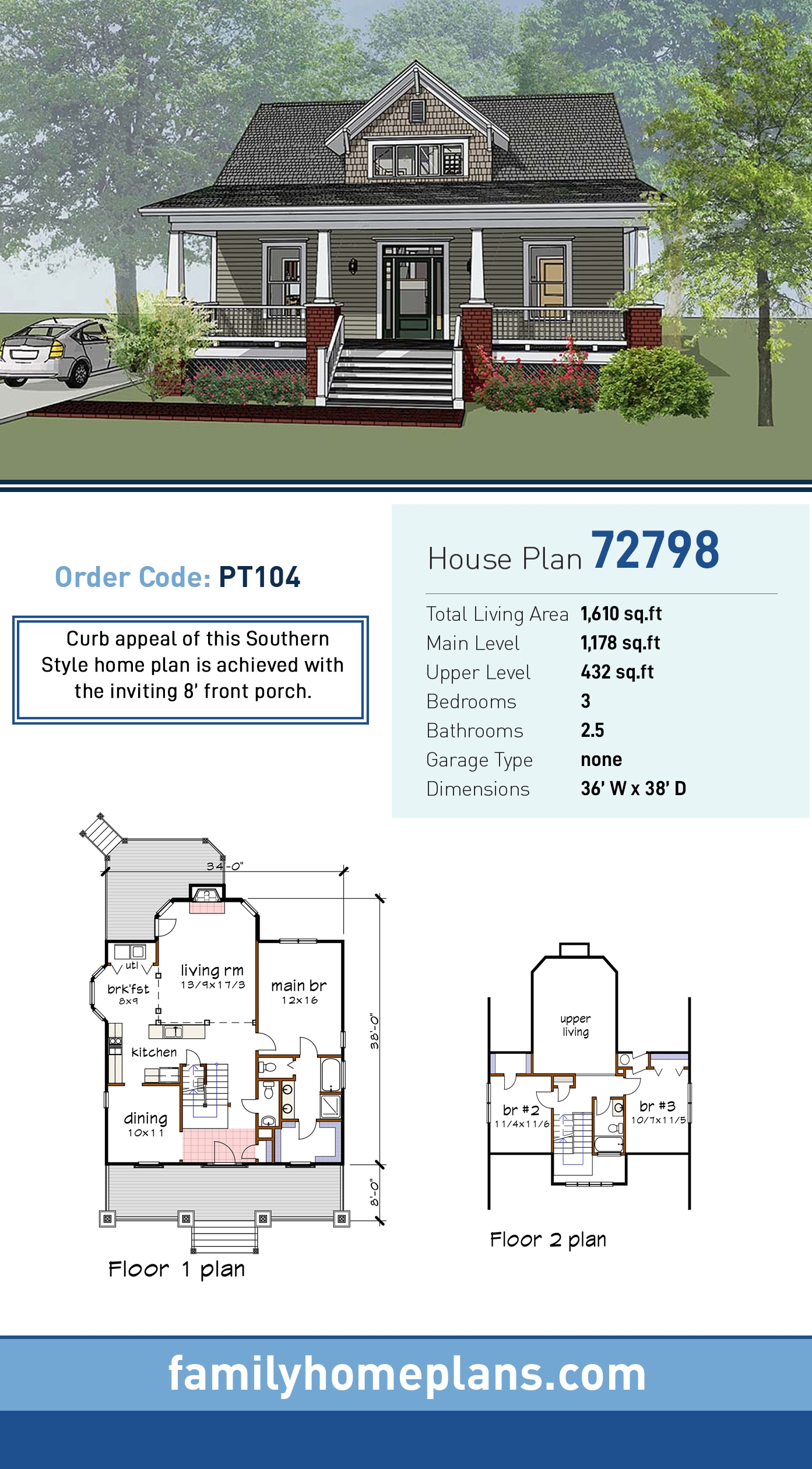 Bungalow, Craftsman House Plan 72798 with 3 Beds, 3 Baths