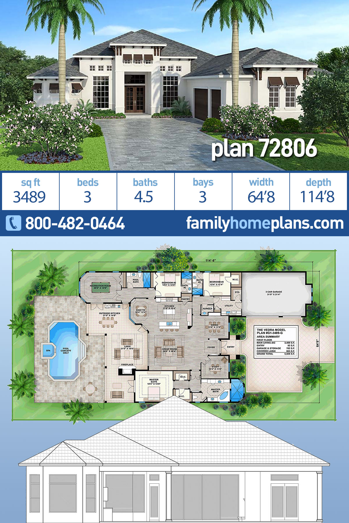Coastal, Florida, Mediterranean House Plan 72806 with 3 Beds, 5 Baths, 3 Car Garage
