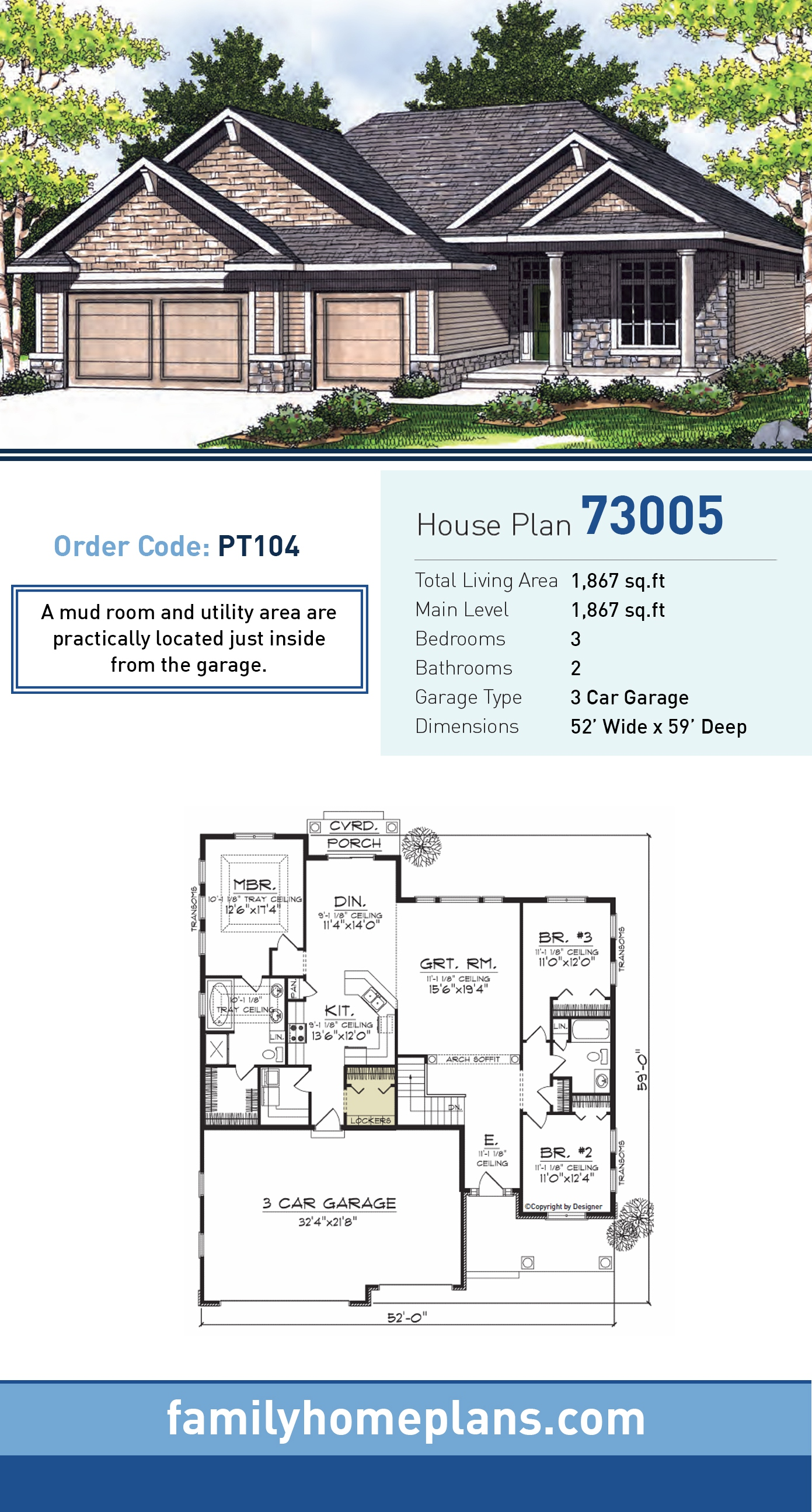 Bungalow House Plan 73005 with 3 Beds, 2 Baths, 3 Car Garage