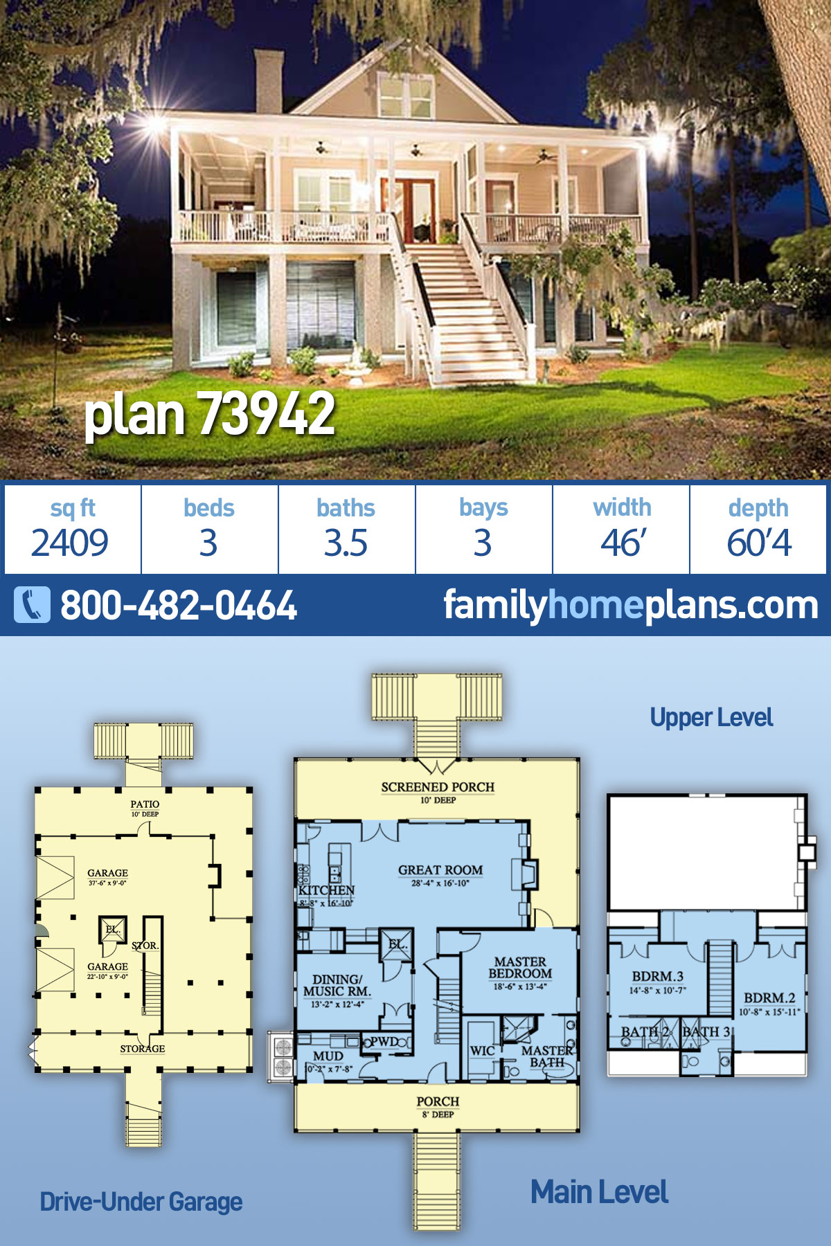 Coastal, Southern House Plan 73942 with 3 Beds, 4 Baths, 3 Car Garage