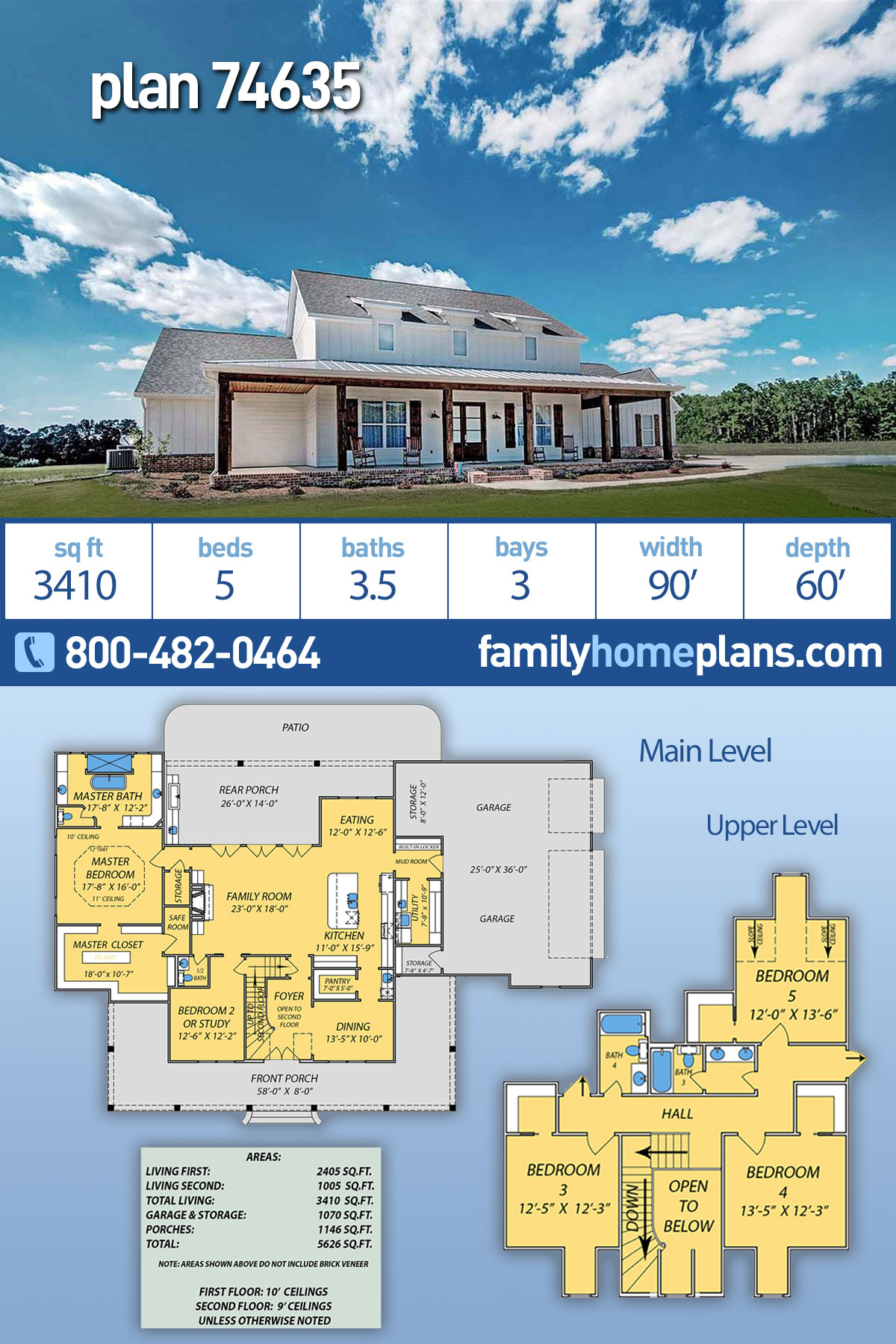 Country, Farmhouse, French Country House Plan 74635 with 5 Beds, 4 Baths, 3 Car Garage