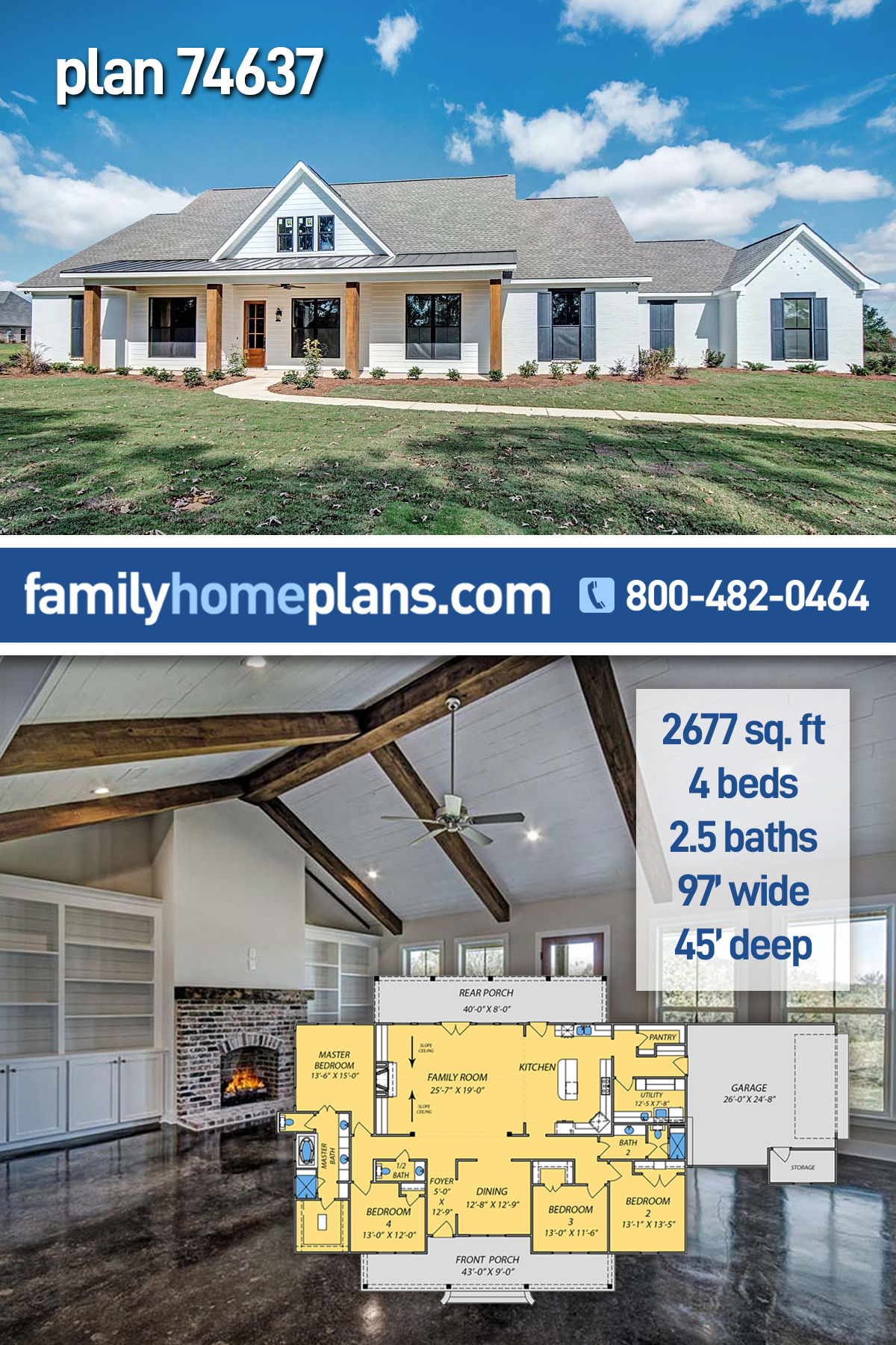 Craftsman, Farmhouse, Traditional House Plan 74637 with 4 Beds, 3 Baths, 2 Car Garage