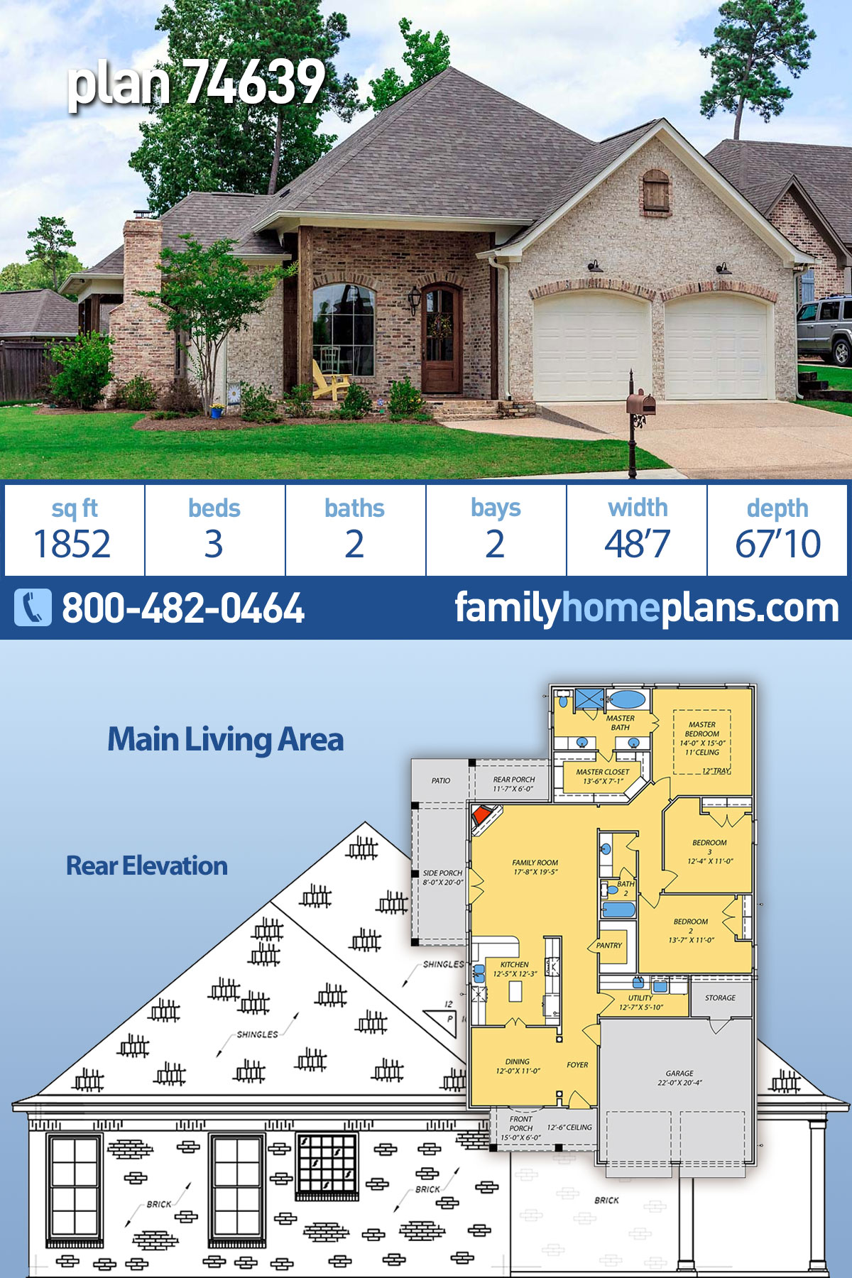 European, French Country, Traditional House Plan 74639 with 3 Beds, 2 Baths, 2 Car Garage