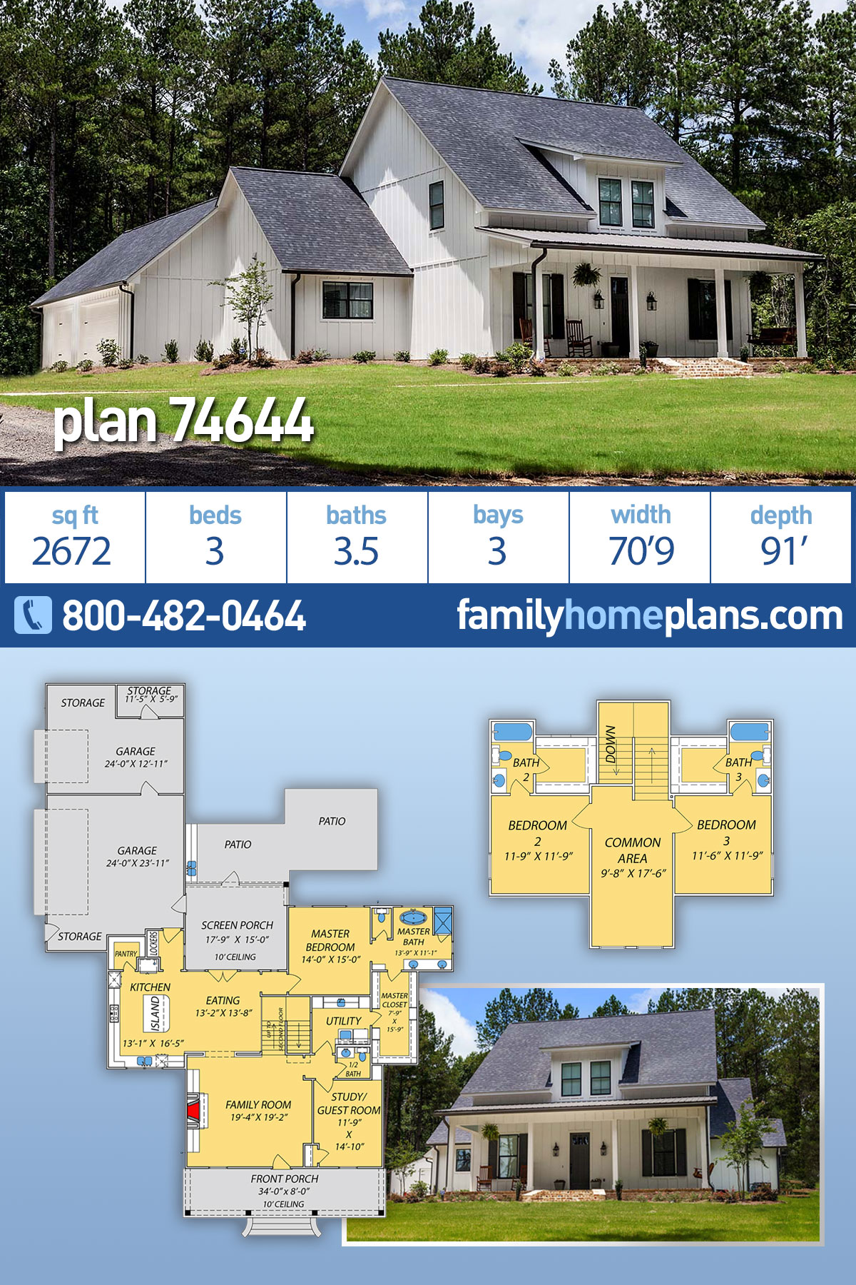 Farmhouse, Southern, Traditional House Plan 74644 with 3 Beds, 4 Baths, 3 Car Garage