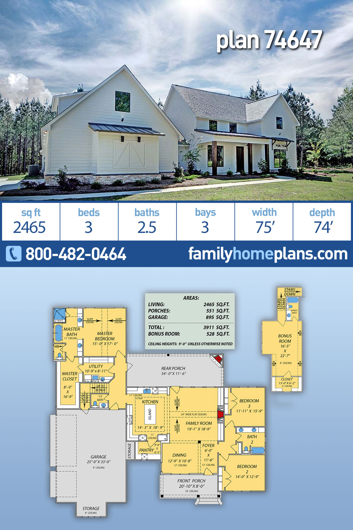 Country, Modern Farmhouse, Traditional House Plan 74647 with 3 Beds , 3 Baths , 3 Car Garage
