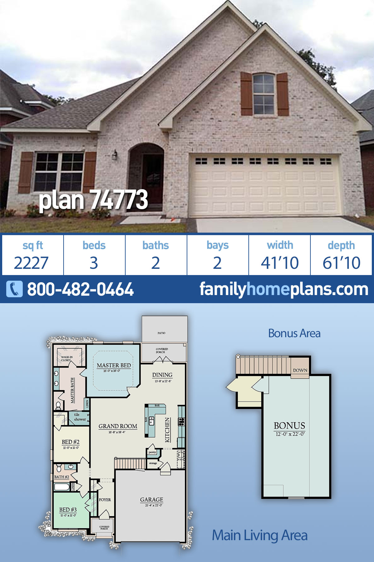 Cottage, Country, European House Plan 74773 with 3 Beds, 2 Baths, 2 Car Garage