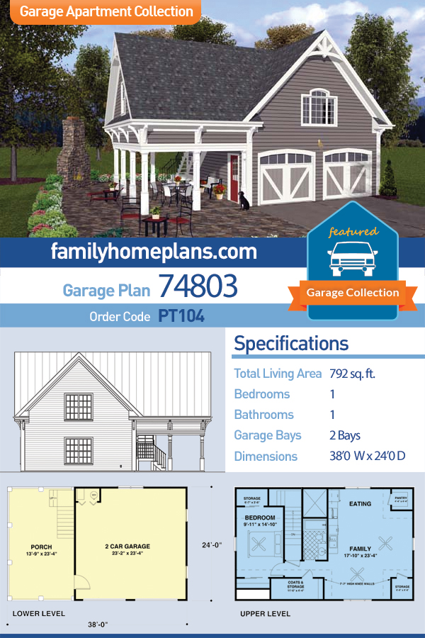 Craftsman, Traditional 2 Car Garage Apartment Plan 74803 with 1 Beds , 1 Baths