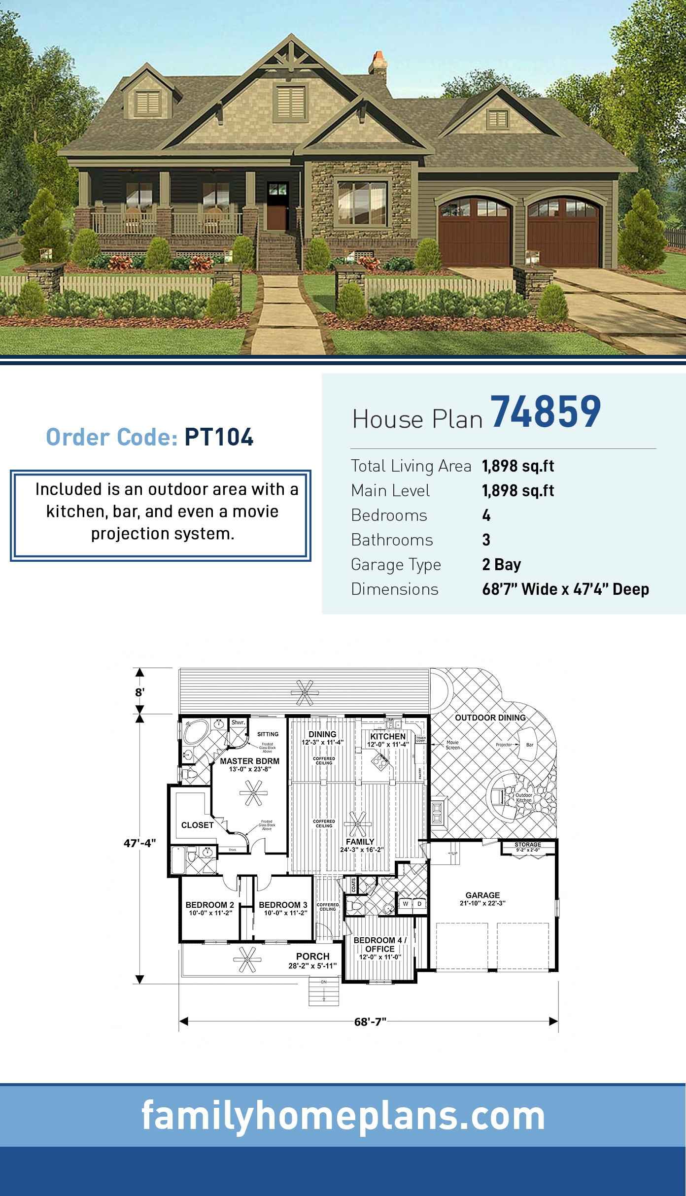 Cottage , Country , Craftsman , Ranch House Plan 74859 with 4 Beds, 3 Baths, 2 Car Garage
