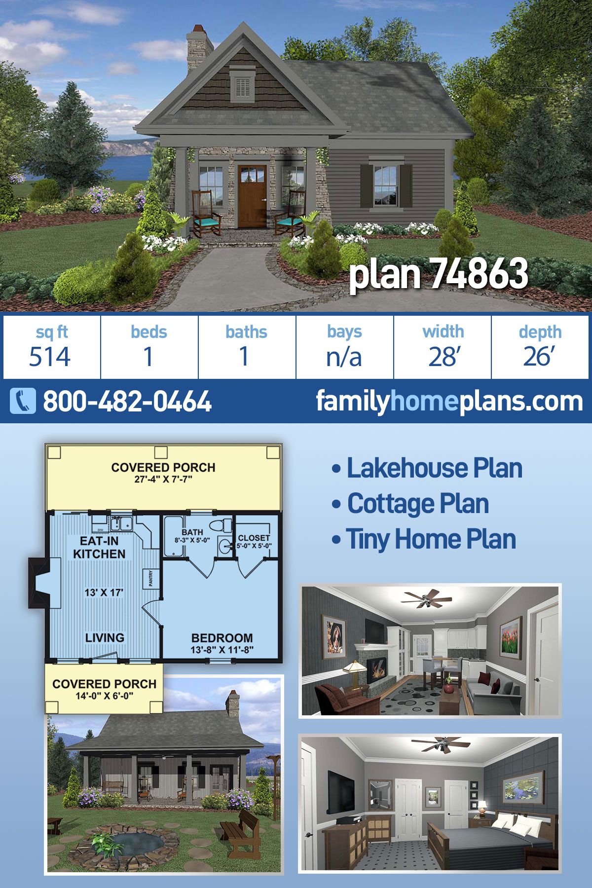 Cottage, Craftsman, Tuscan House Plan 74863 with 1 Beds, 1 Baths